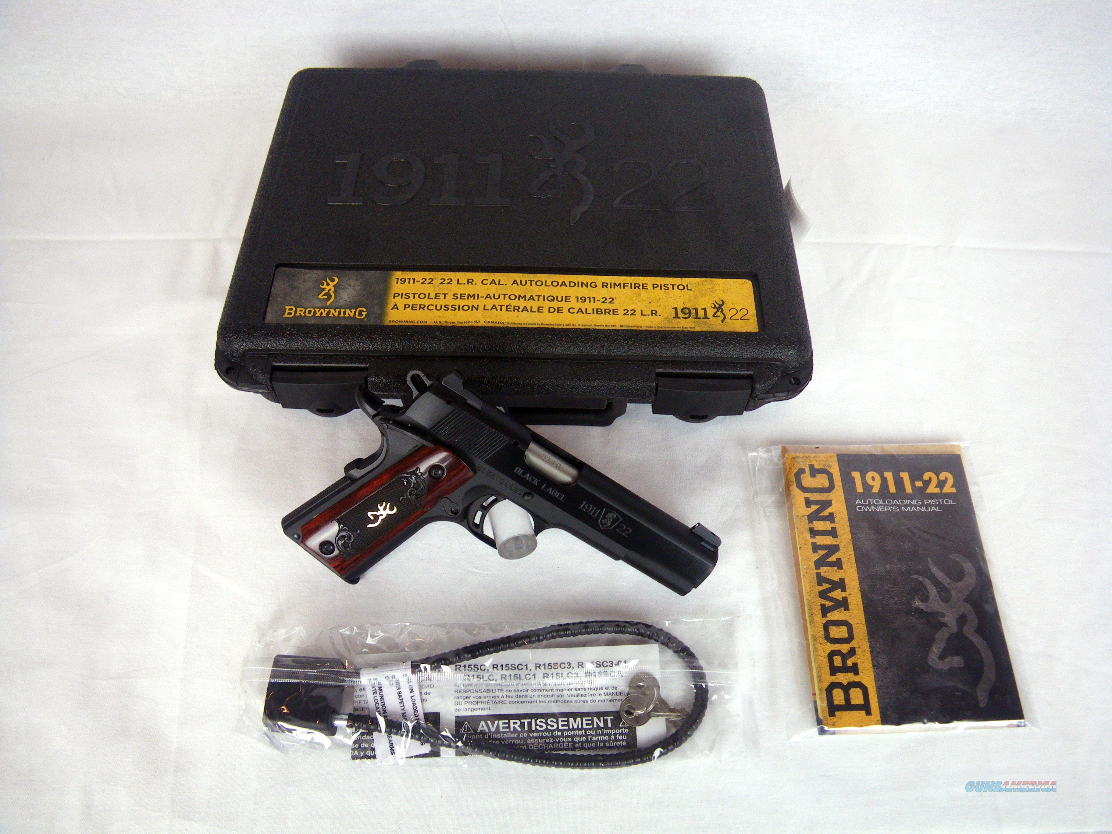 "Browning 1911-22 Black Label Medallion 22lr 4.25"" #051851490  Guns > Pistols > Browning Pistols > Other Autos"