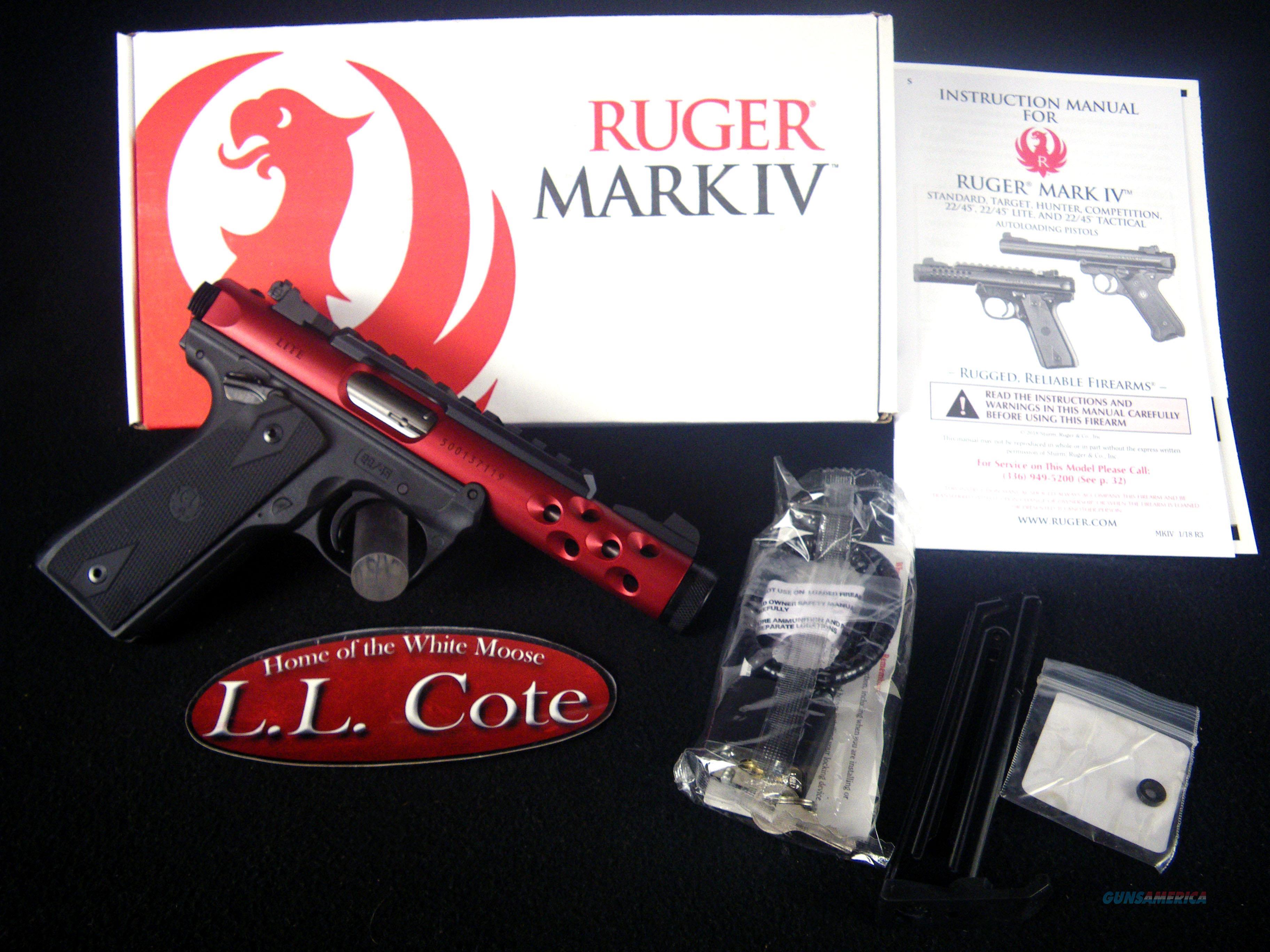 "Ruger Mark IV 22/45 Lite Red 22lr 4.4"" NEW 43910  Guns > Pistols > Ruger Semi-Auto Pistols > Mark I/II/III/IV Family"