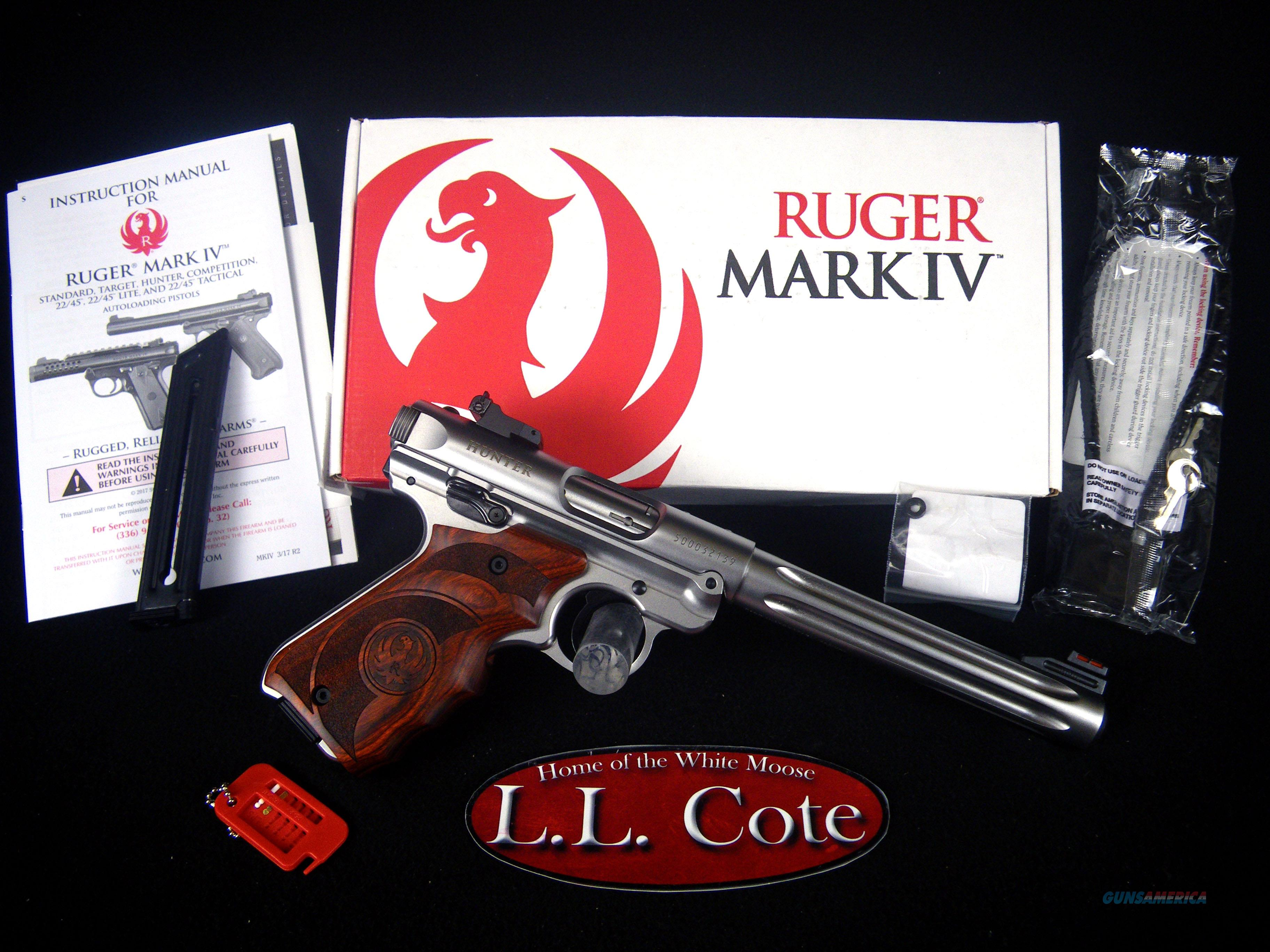 "Ruger Mark IV Hunter 22lr 6.88"" SS/Wood NEW 40160  Guns > Pistols > Ruger Semi-Auto Pistols > Mark I/II/III/IV Family"
