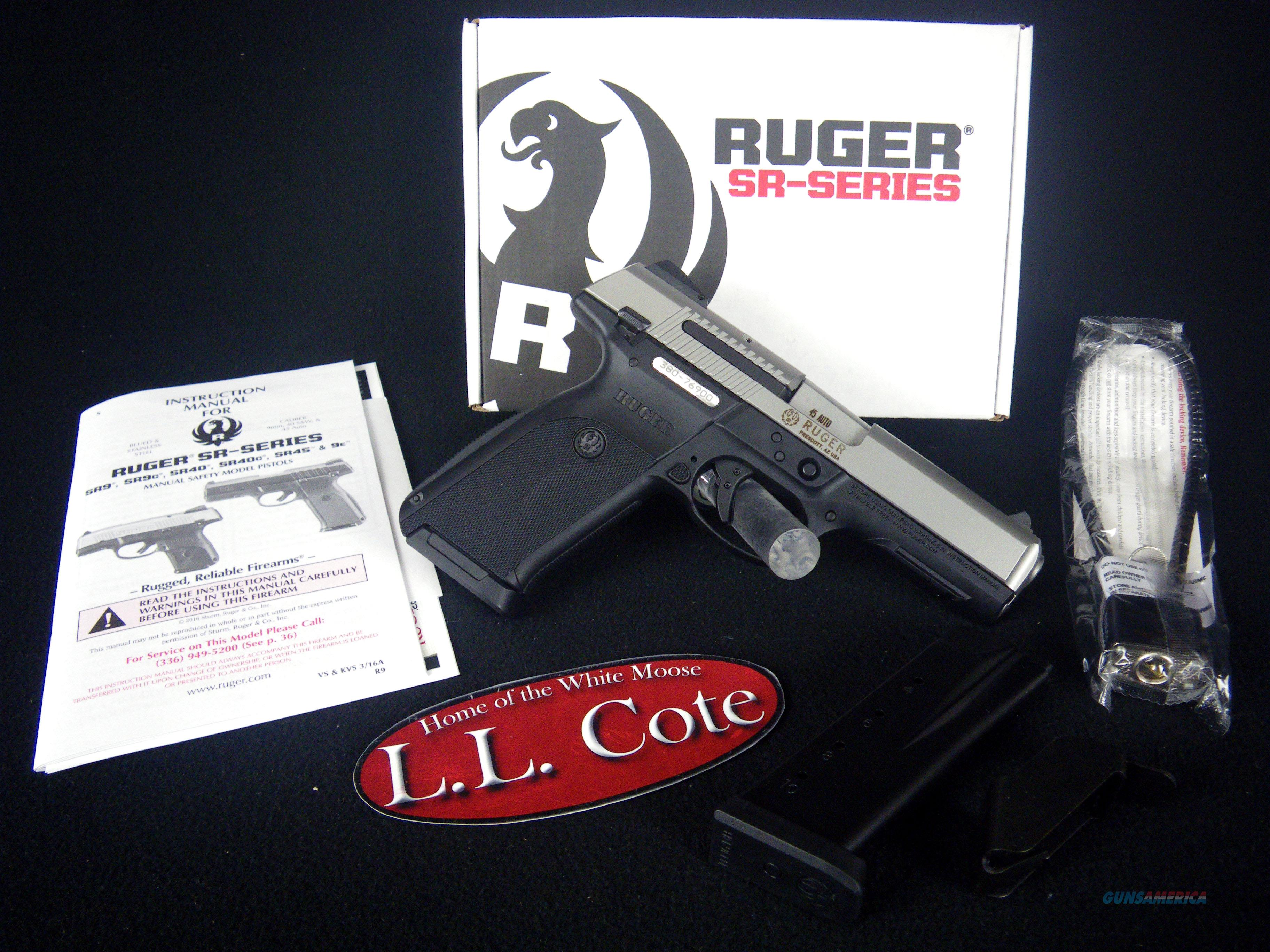 """Ruger SR45 45acp 4.5"""" Stainless/Synthetic NEW 3801  Guns > Pistols > Ruger Semi-Auto Pistols > SR Family > SR45"""