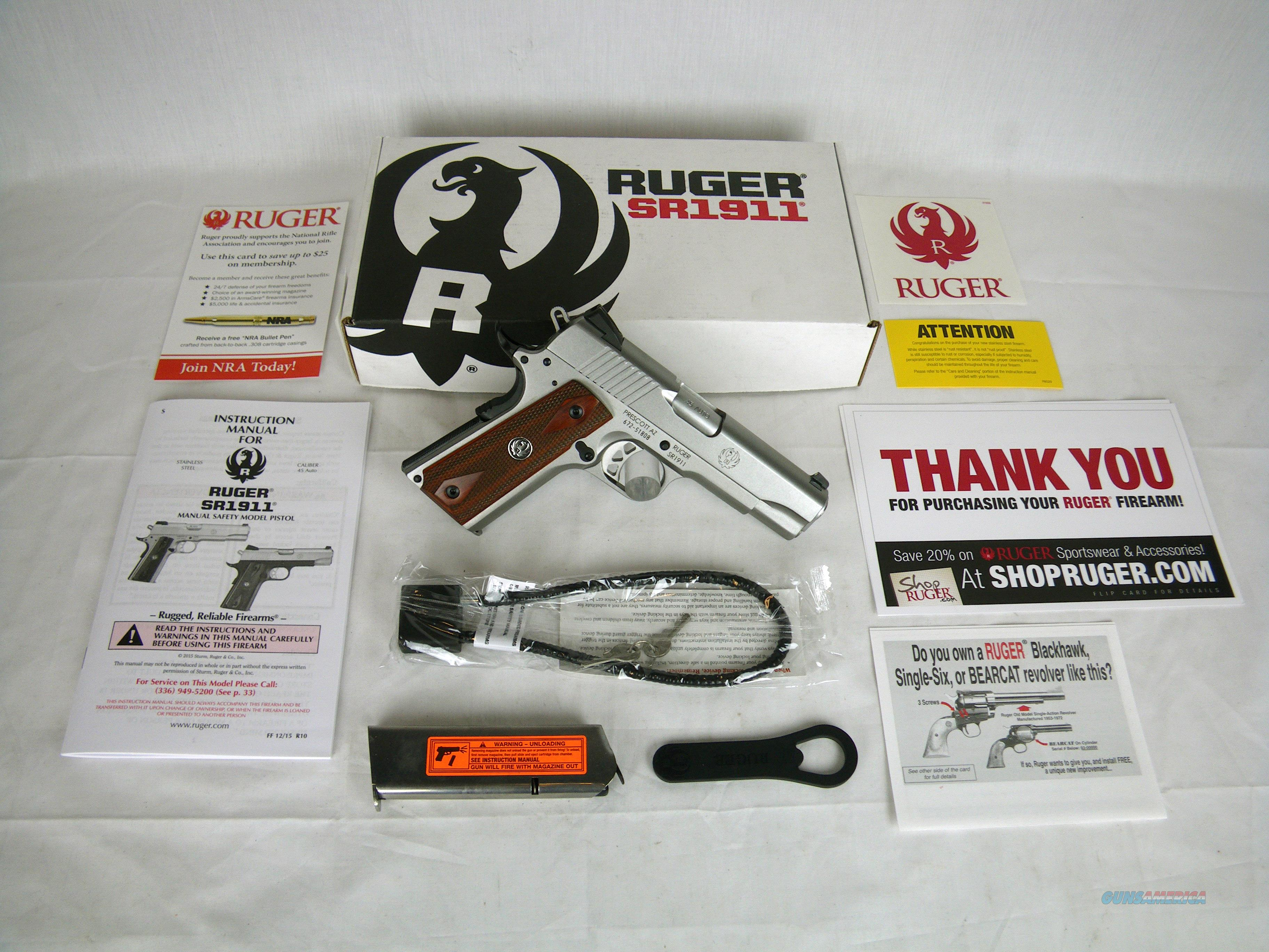 """Ruger SR1911 45ACP 4.25"""" Stainless/Wood NEW #6702  Guns > Pistols > Ruger Semi-Auto Pistols > 1911"""