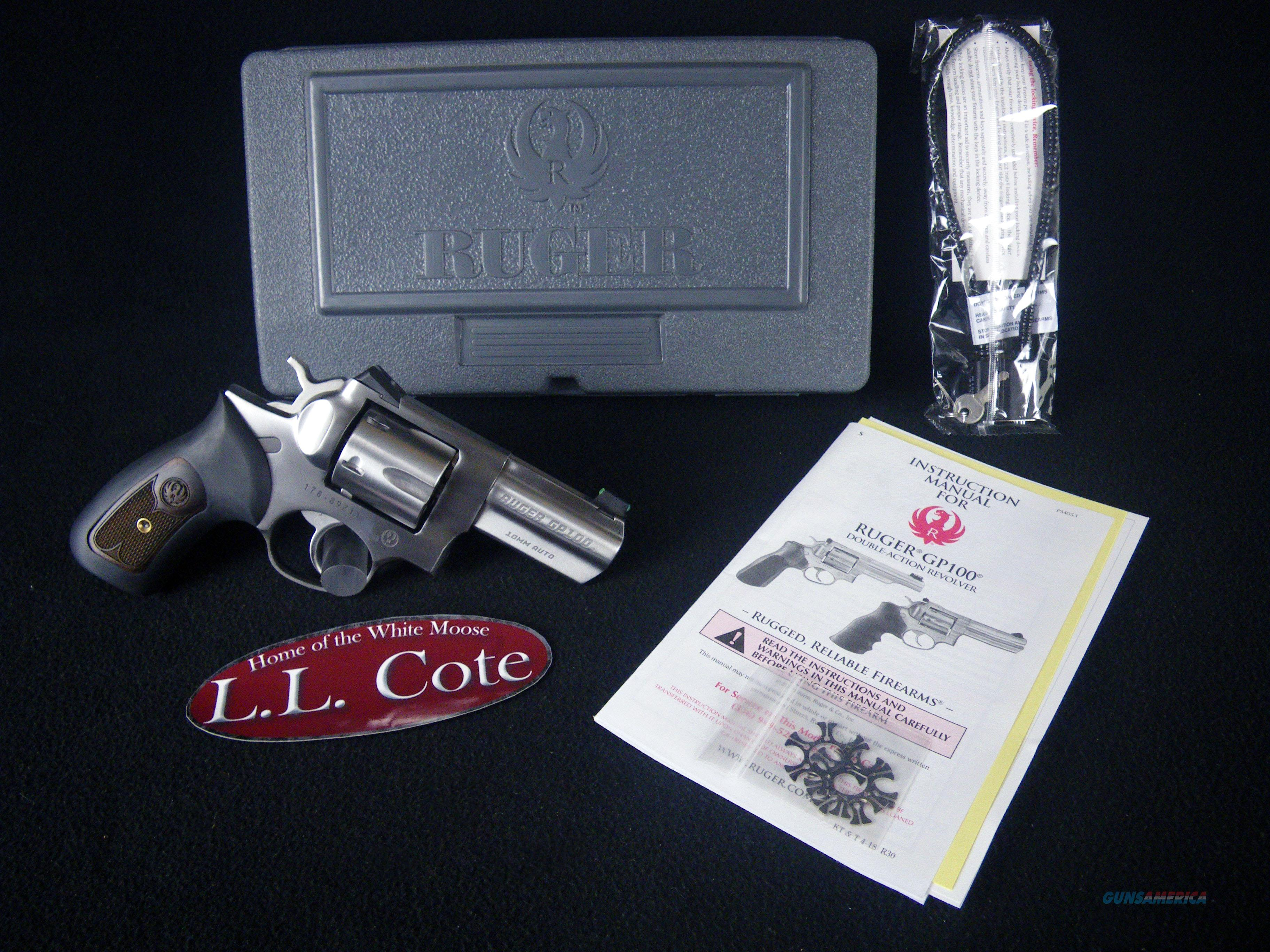 "Ruger GP100 10mm 3"" NEW Stainless 1780  Guns > Pistols > Ruger Double Action Revolver > GP100"