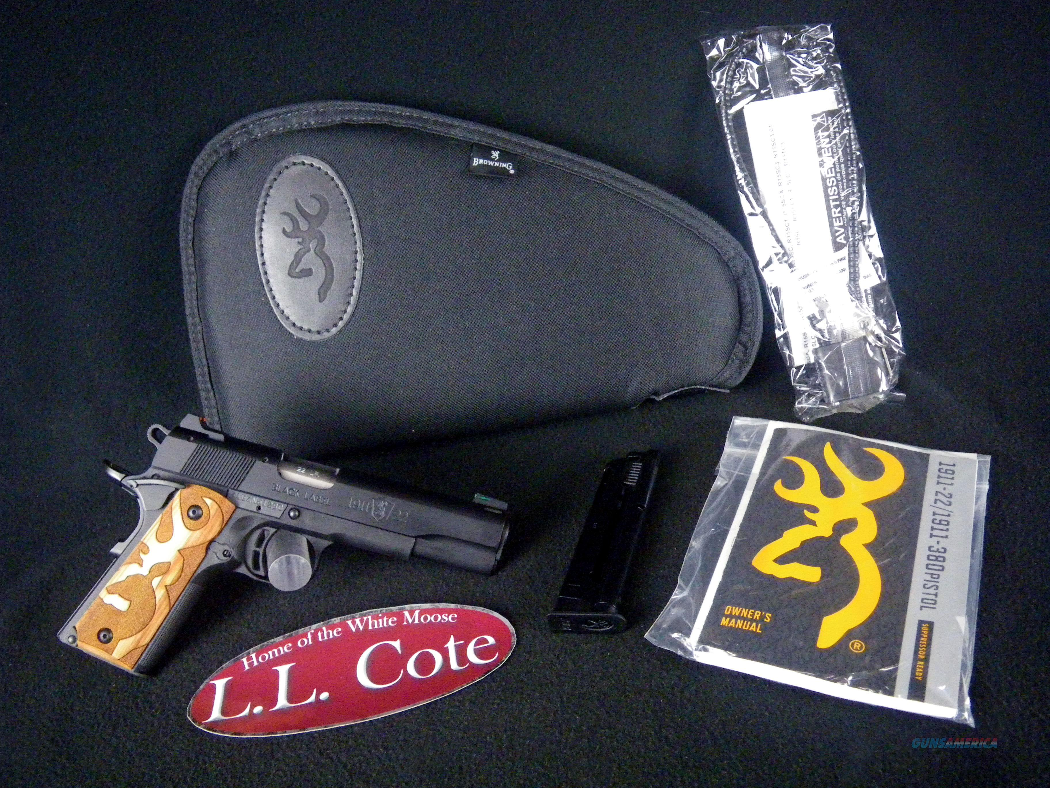 """Browning 1911-22 Black Label 22lr 4.25"""" NEW Wood 051871490  Guns > Pistols > Browning Pistols > Other Autos"""