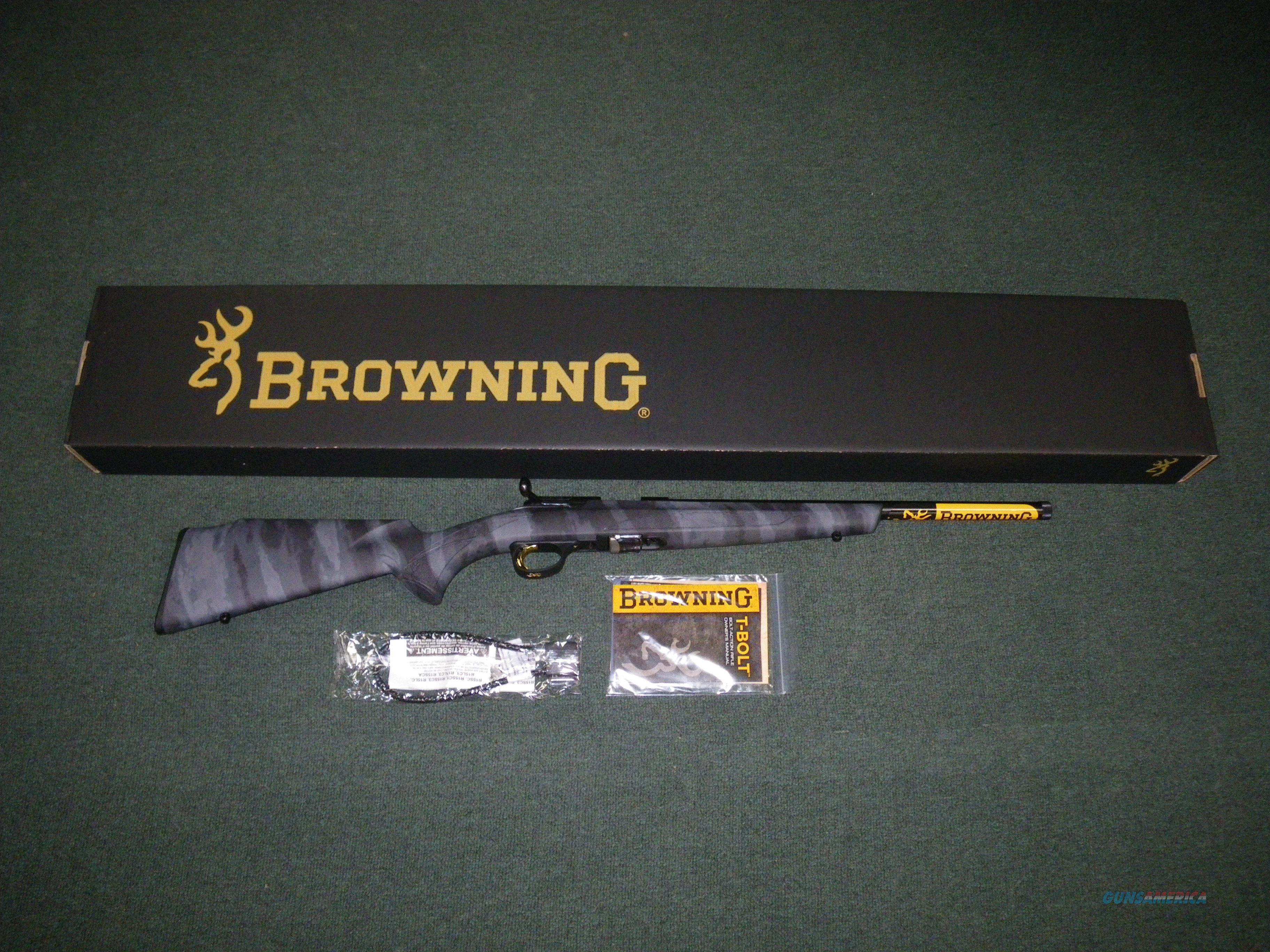 "Browning T-Bolt A-TACS LE 22mag 16.5"" Threaded NEW #025227204  Guns > Rifles > Browning Rifles > Bolt Action > Hunting > Blue"