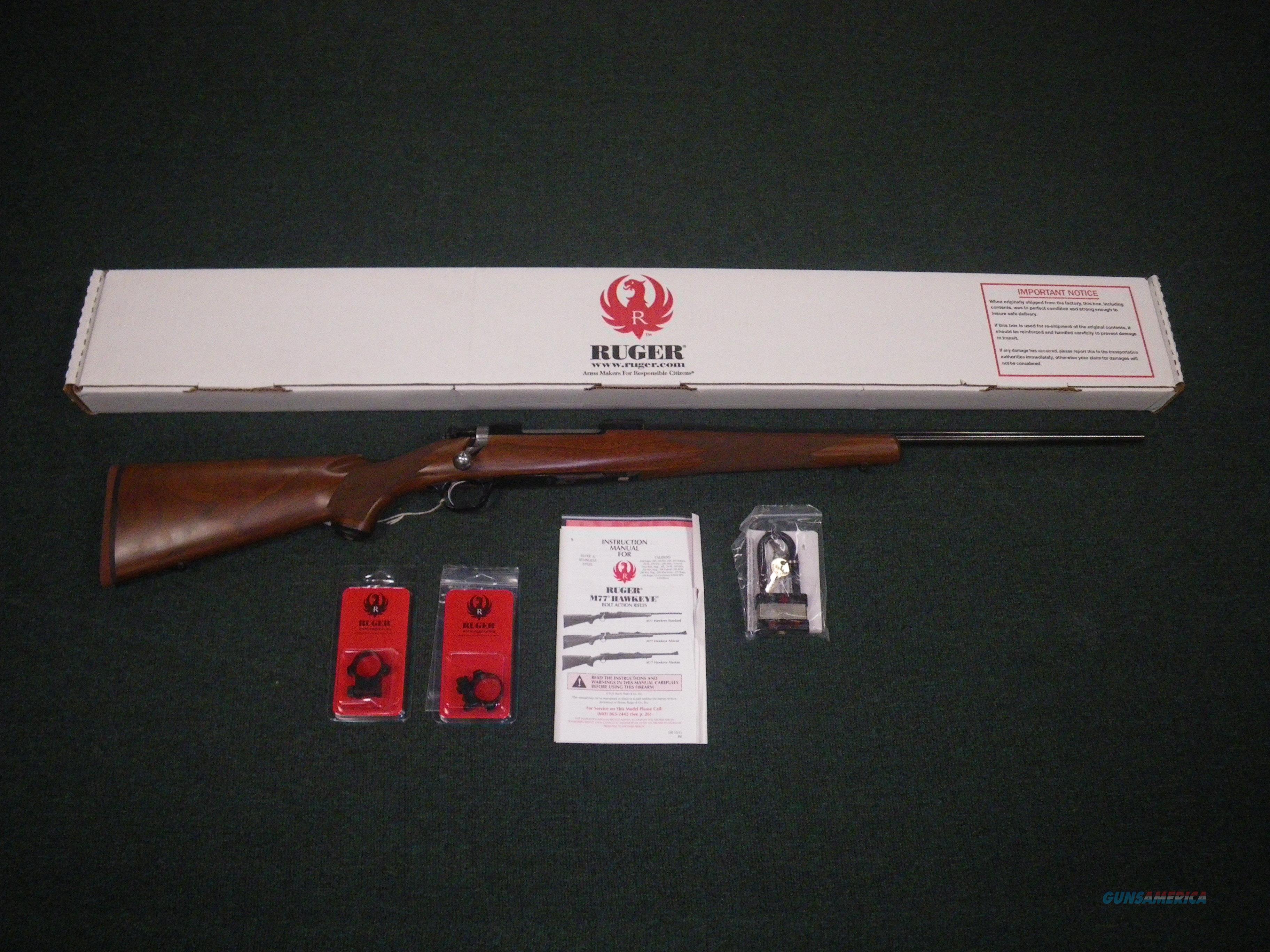 "Ruger M77 Hawkeye Standard Wood/Blue 308 Win 22"" #37124  Guns > Rifles > Ruger Rifles > Model 77"