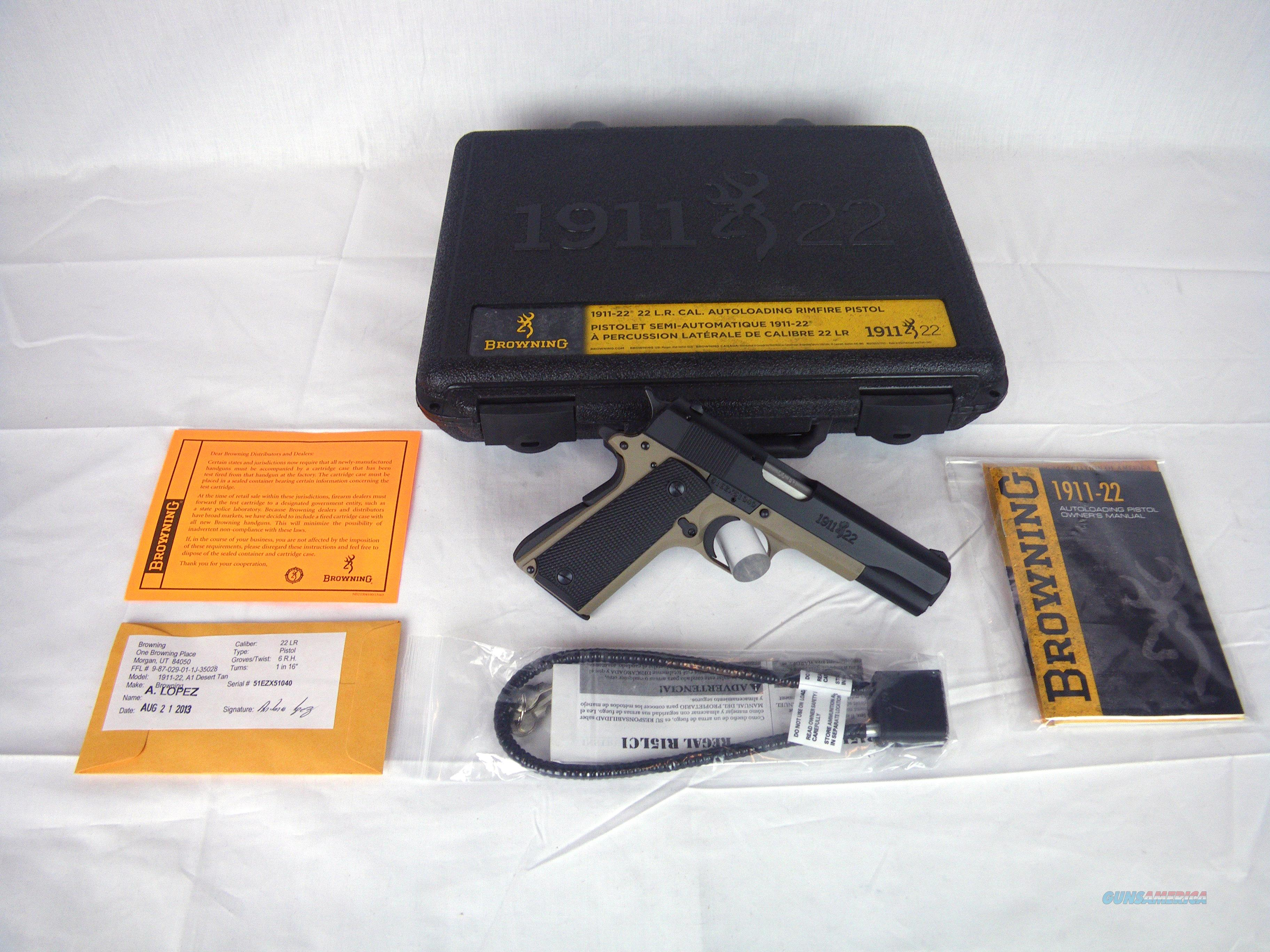 "Browning 1911-22 A1 Desert Tan 22lr 4.25"" NEW NIB #051808490  Guns > Pistols > Browning Pistols > Other Autos"