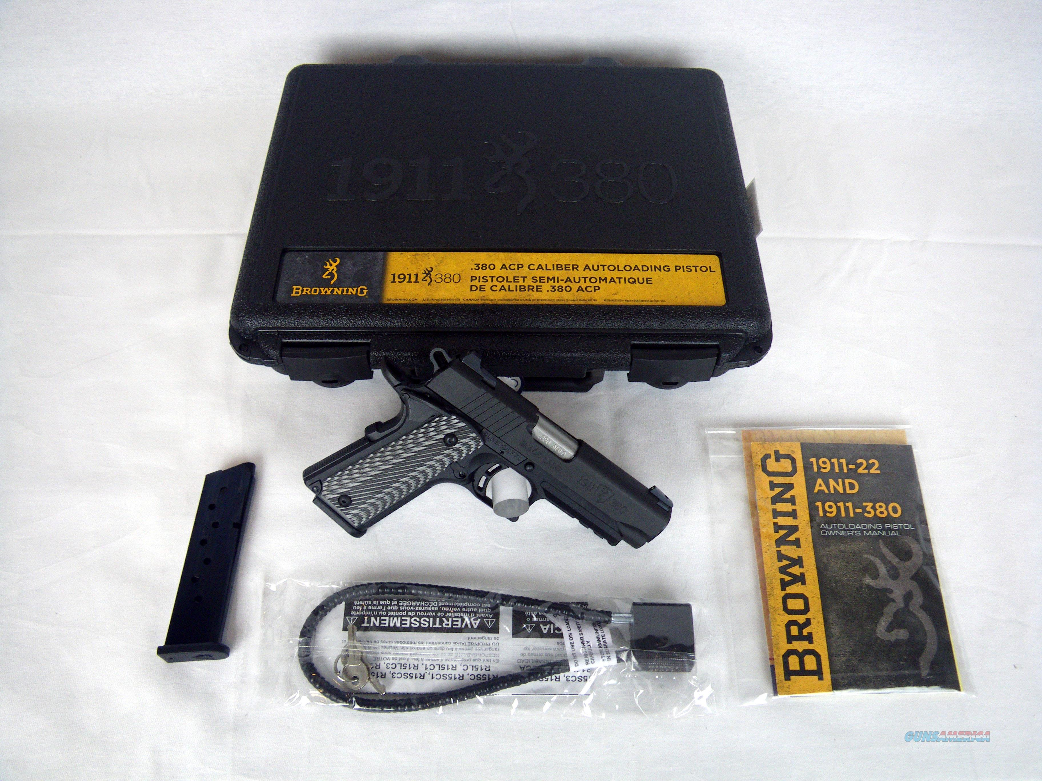 """Browning 1911-380 Black Label Pro 380ACP 3.63"""" NEW #051911492  Guns > Pistols > Browning Pistols > Other Autos"""