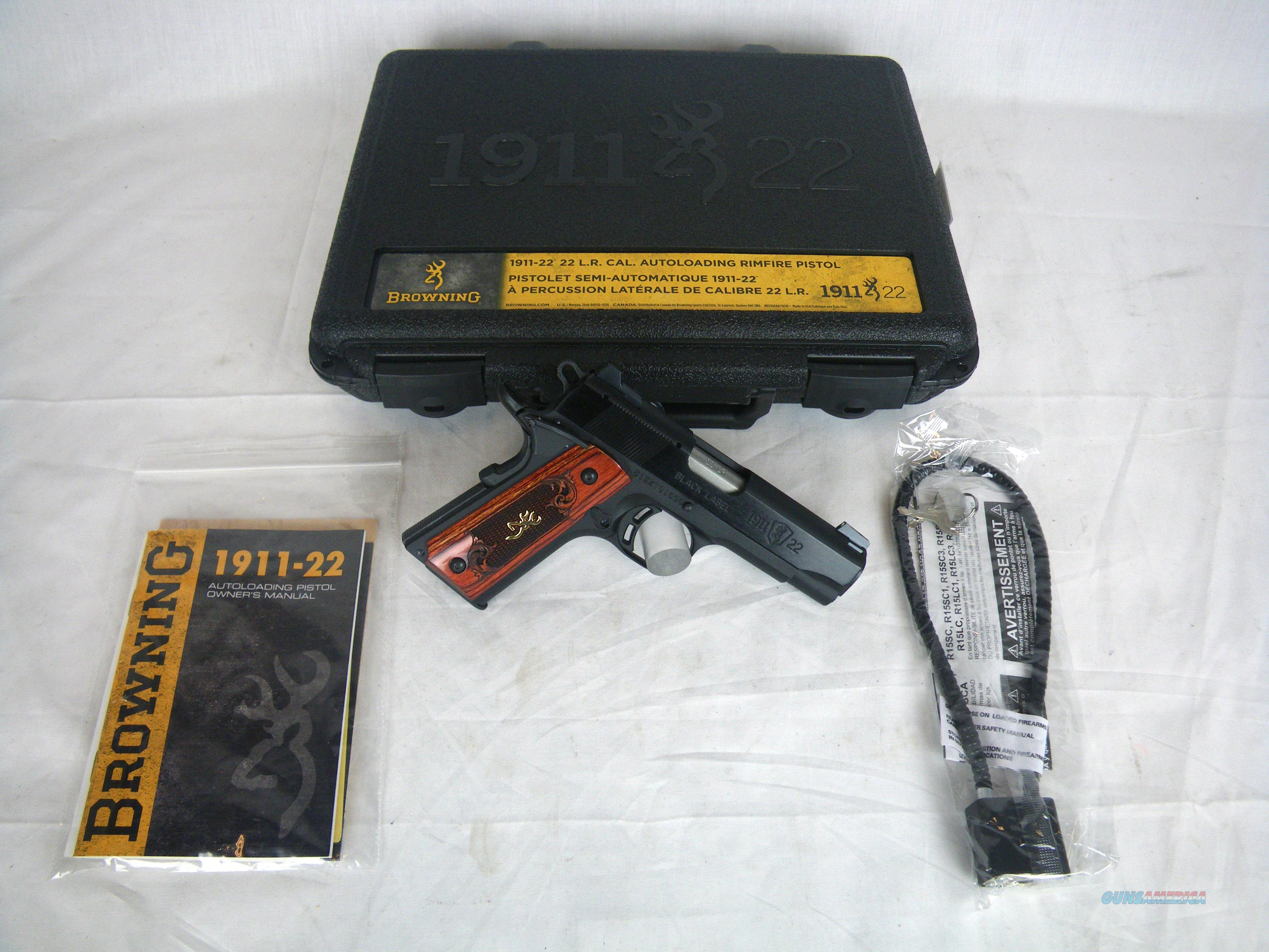 """Browning 1911-22 Medallion Compact 22lr 3-5/8"""" NEW #051852490  Guns > Pistols > Browning Pistols > Other Autos"""