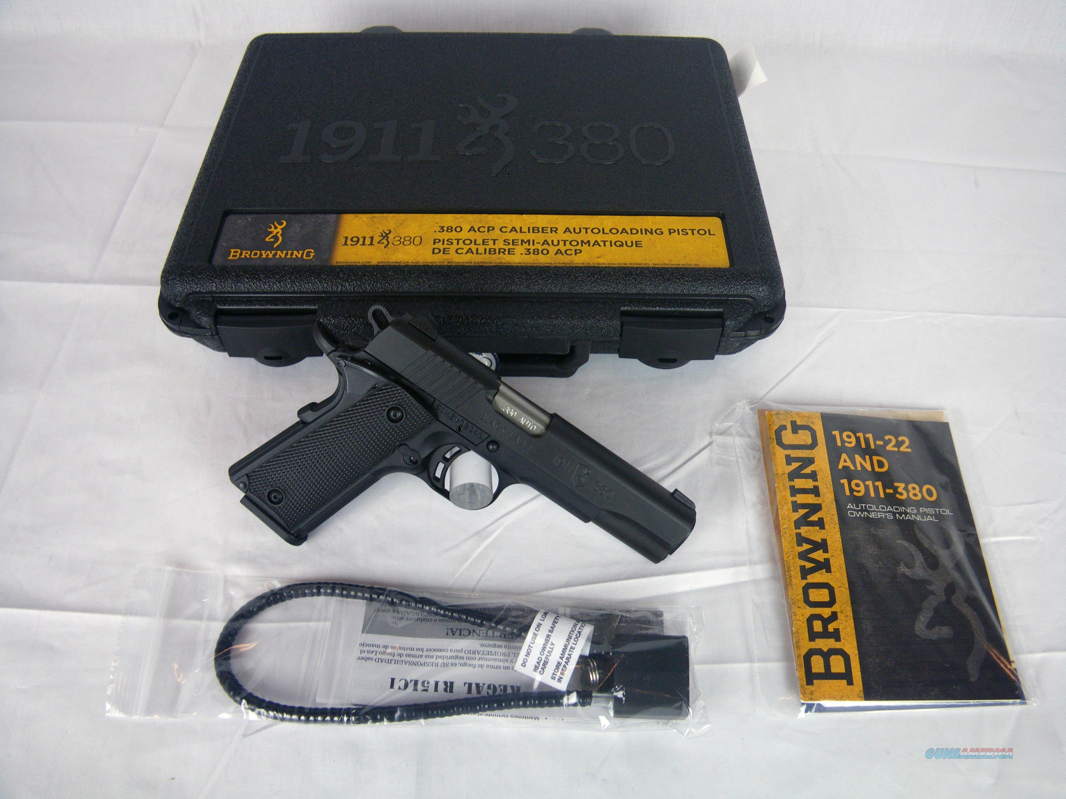 """Browning 1911-380 Black Label 380 ACP 4.25"""" NEW #051904492  Guns > Pistols > Browning Pistols > Other Autos"""