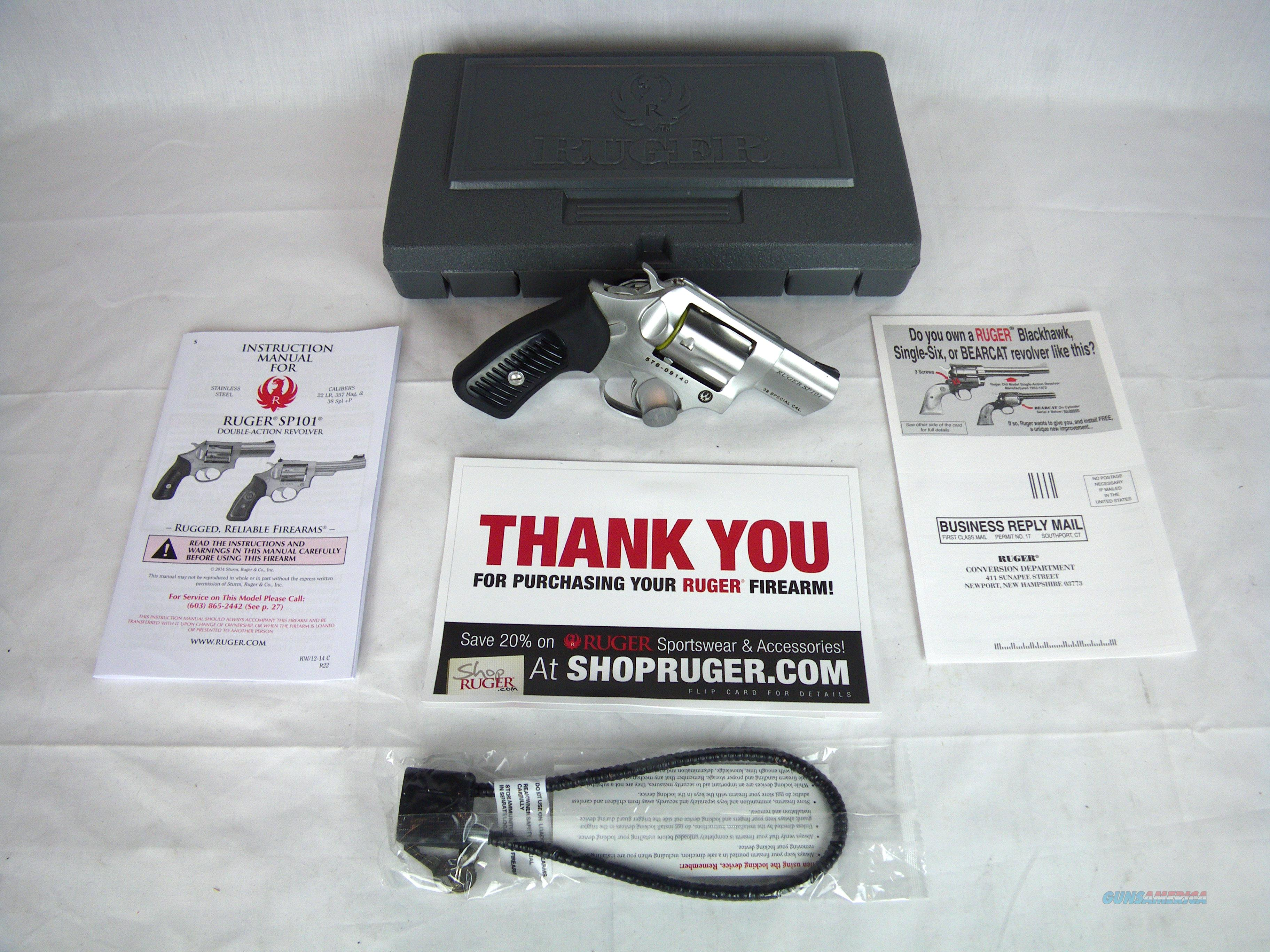 "Ruger SP101 38 Spl +P 2.25"" NEW Stainless #5737  Guns > Pistols > Ruger Double Action Revolver > SP101 Type"