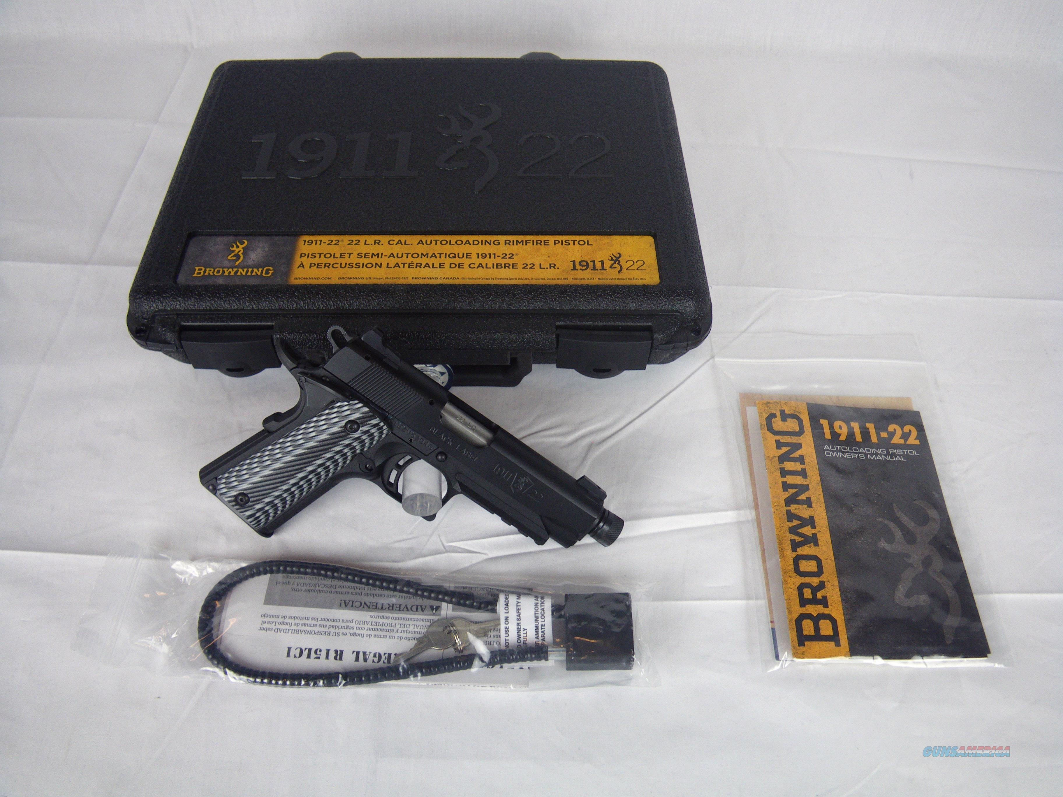 "Browning 1911-22 Black Label Threaded 22lr 4.25"" #051821490  Guns > Pistols > Browning Pistols > Other Autos"