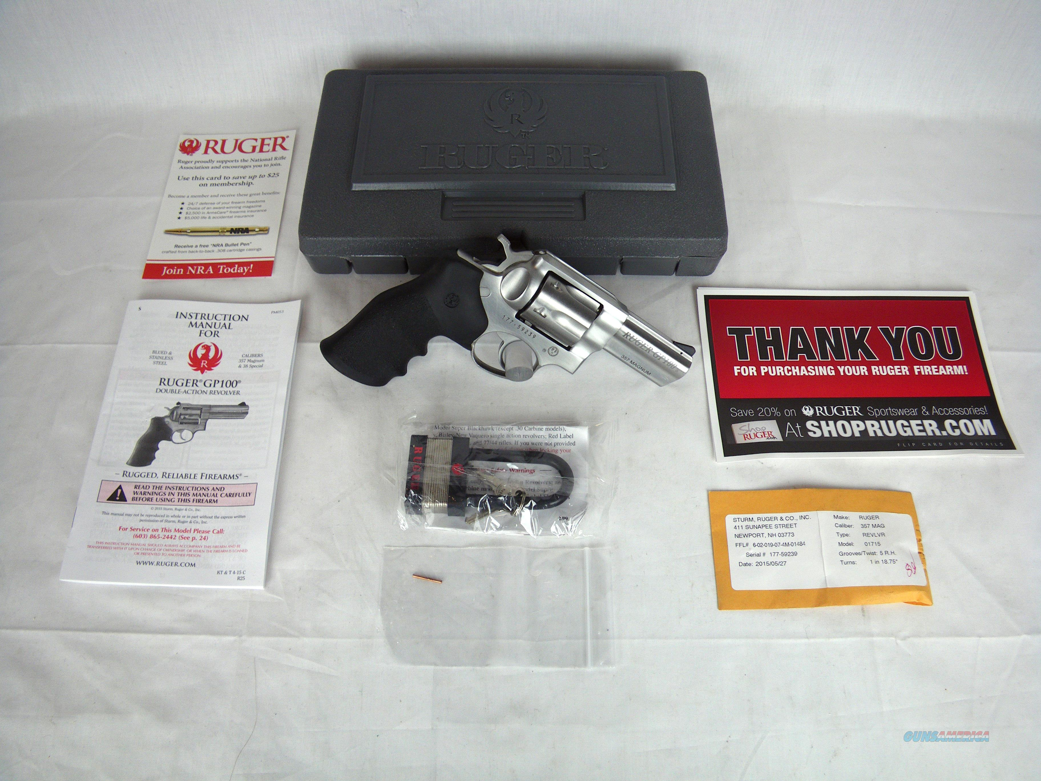 """Ruger GP100 357 Mag 3"""" Hogue Monogrip NEW #1715  Guns > Pistols > Ruger Double Action Revolver > GP100"""