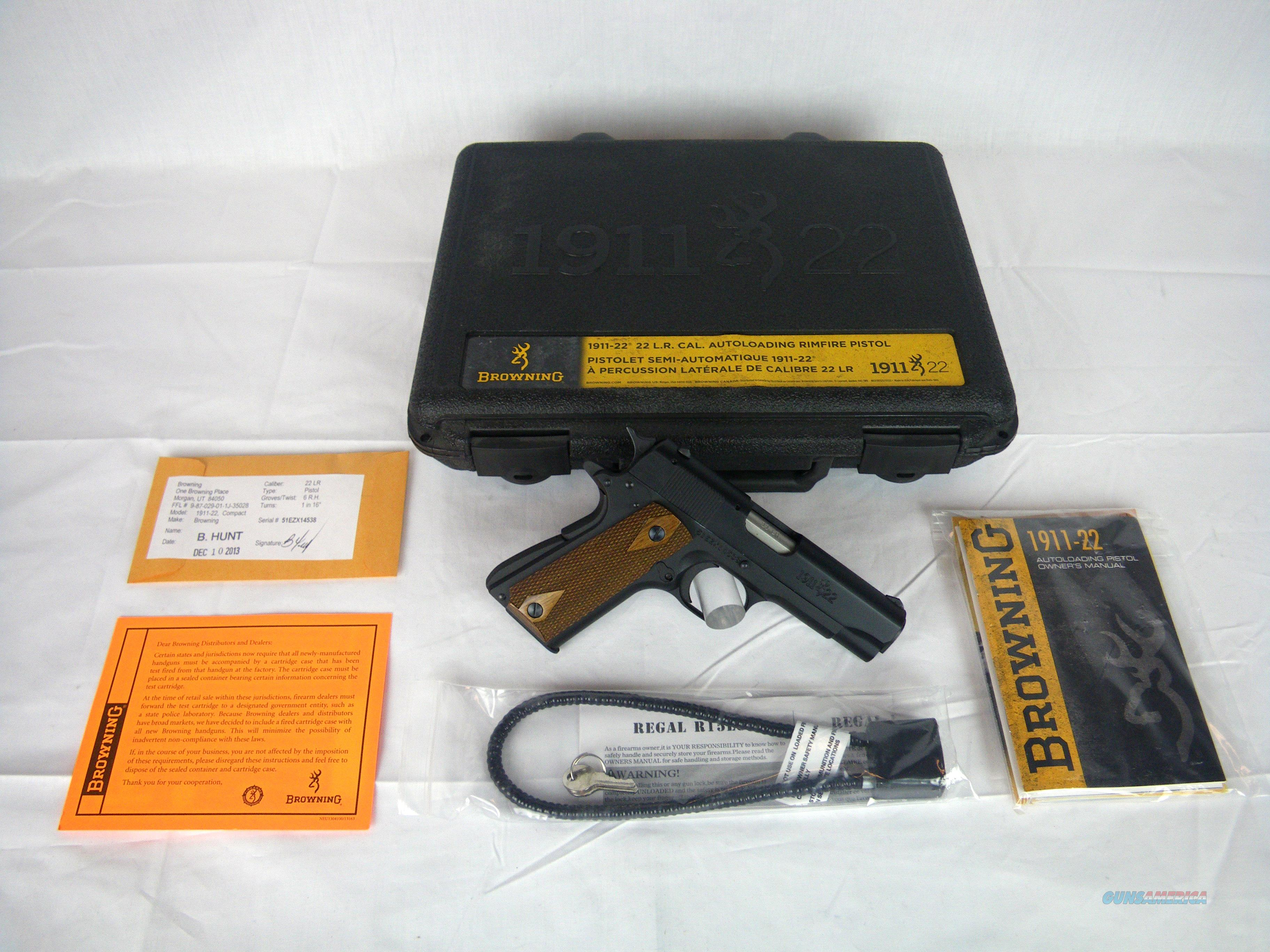"""Browning 1911-22 A1 Compact Wood 22lr 3-5/8"""" NEW #051803490  Guns > Pistols > Browning Pistols > Other Autos"""