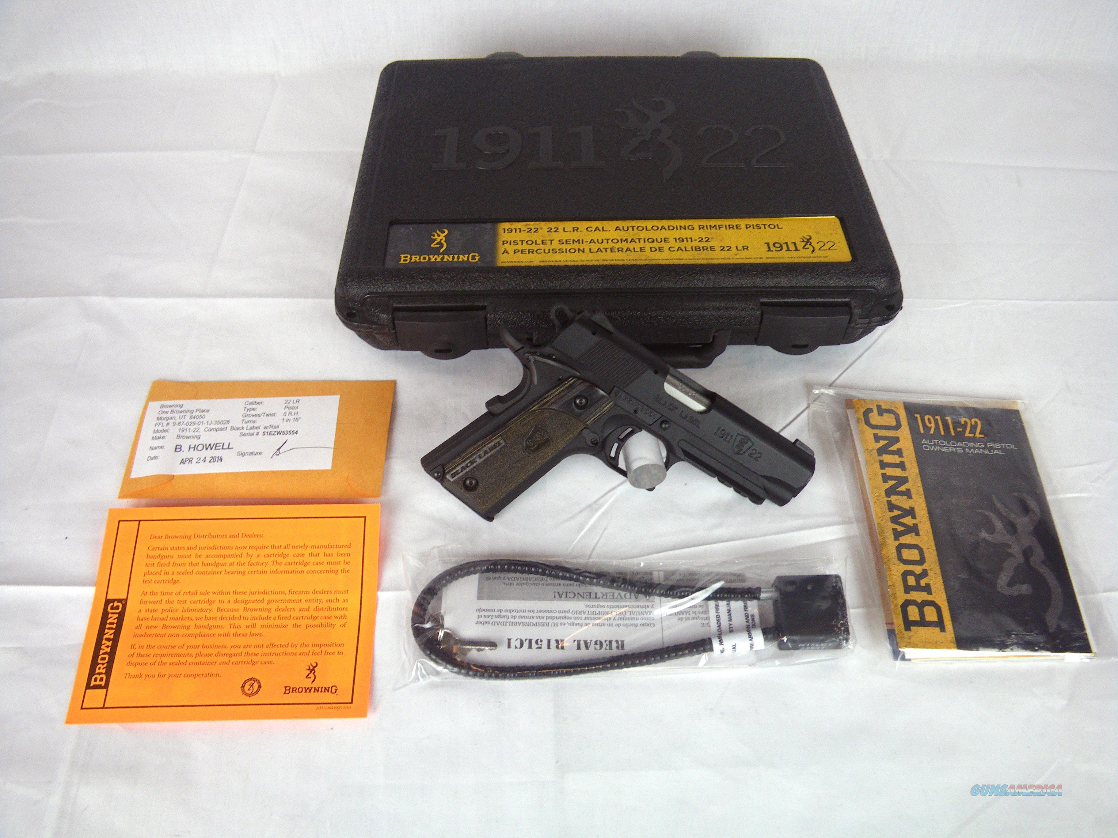 "Browning 1911-22 Black Label W/Rail 22lr 3-5/8"" NEW #051817490  Guns > Pistols > Browning Pistols > Other Autos"