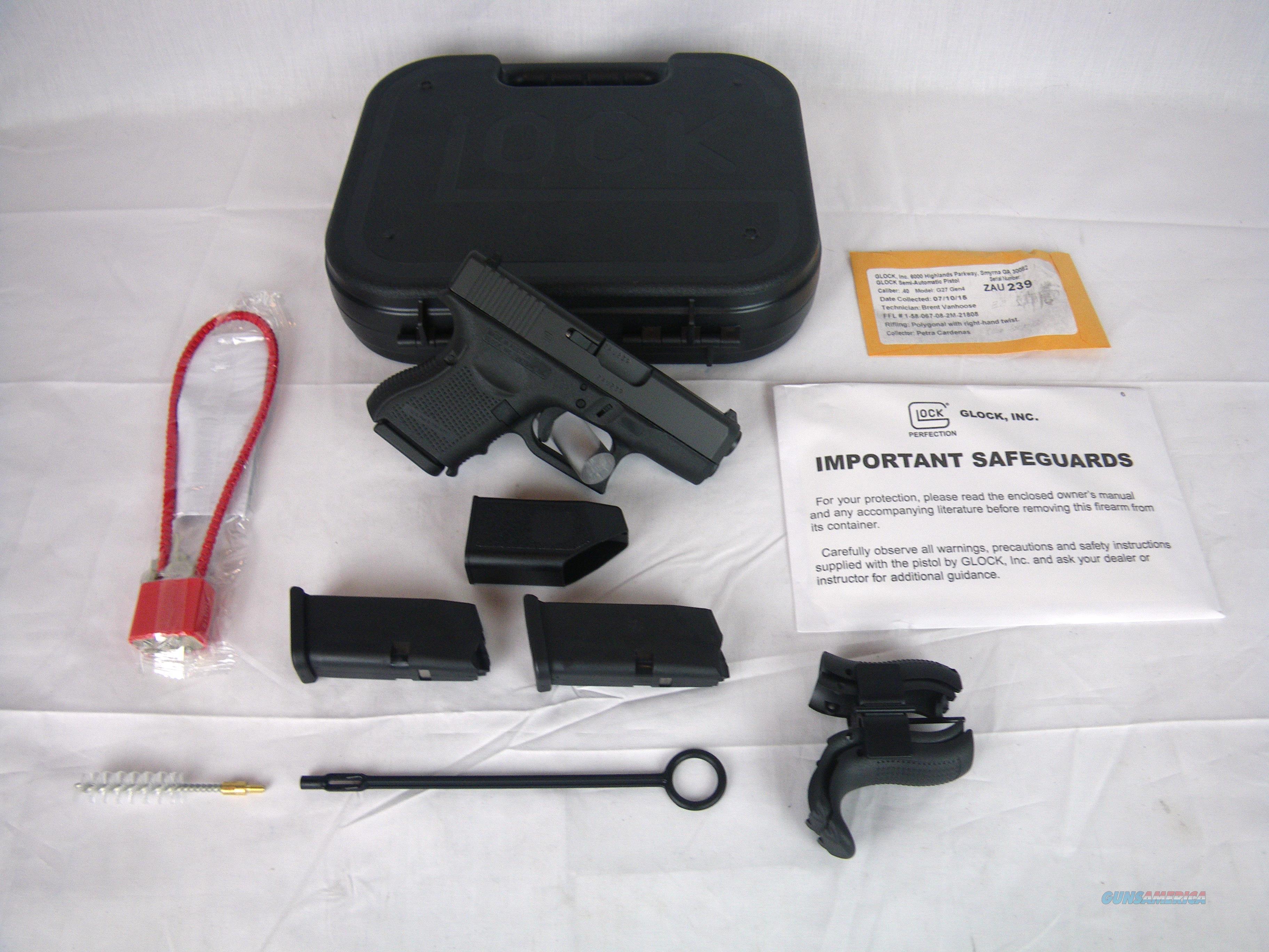 "Glock 27 Gen4 40 S&W 3.42"" Subcompact 9 Round NEW #PG2750201  Guns > Pistols > Glock Pistols > 26/27"