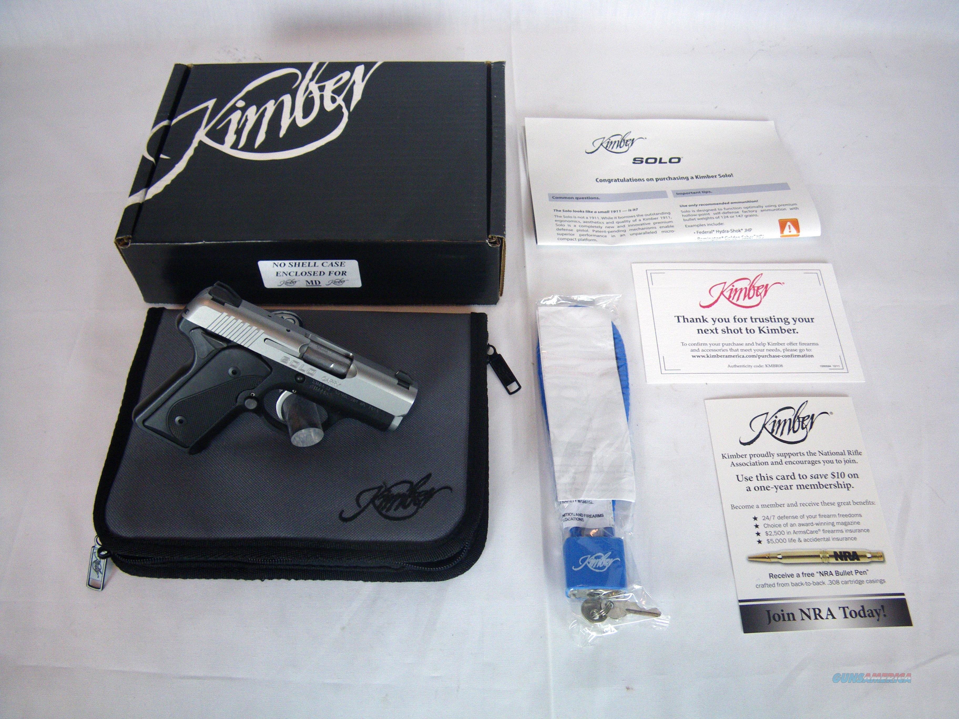 "Kimber Solo Carry Handgun 9mm Luger 2.7"" NIB #3900001  Guns > Pistols > Kimber of America Pistols"
