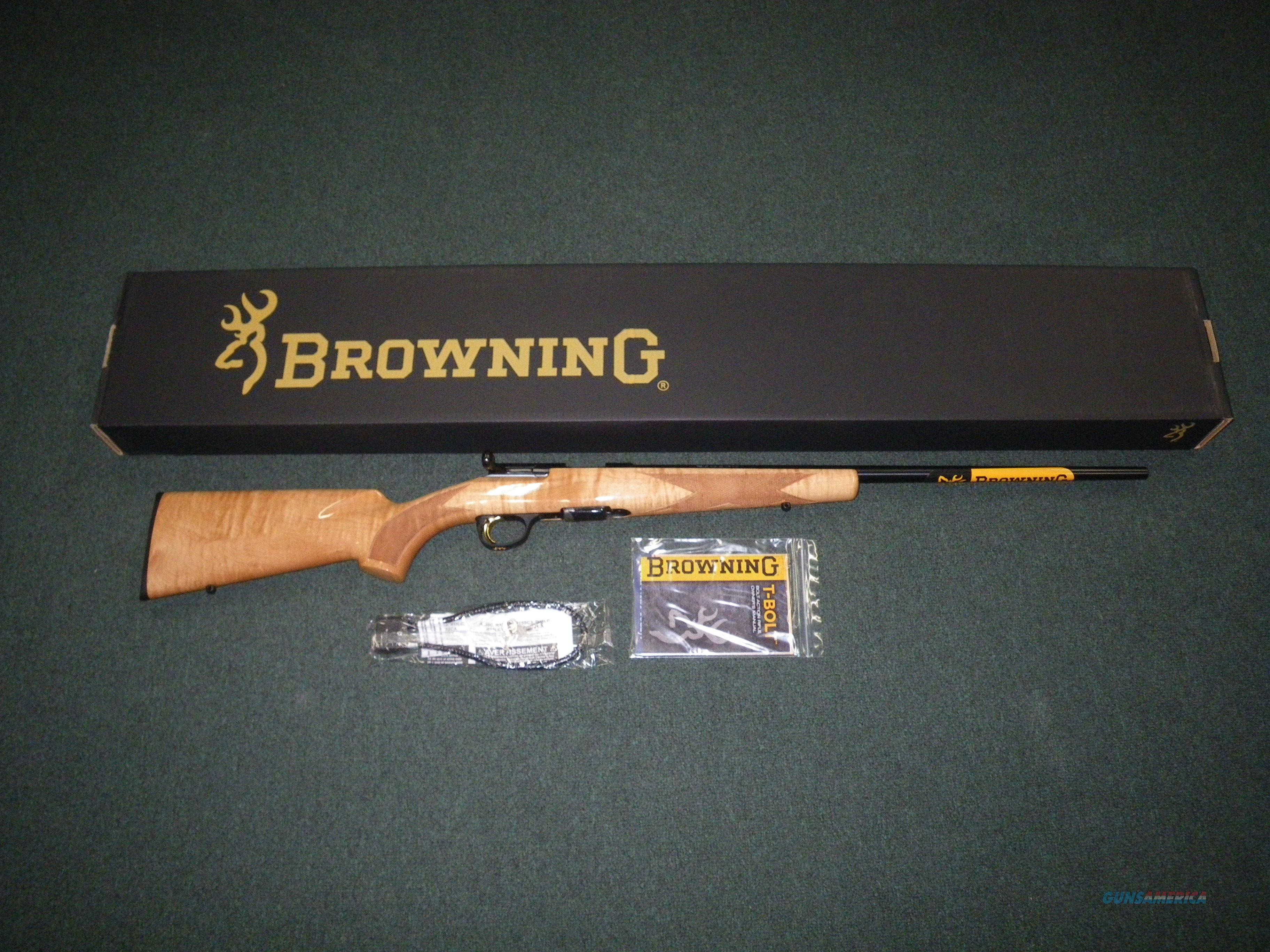 "Browning T-Bolt Sporter Maple 17 HMR 22"" NEW #025216270  Guns > Rifles > Browning Rifles > Bolt Action > Hunting > Blue"