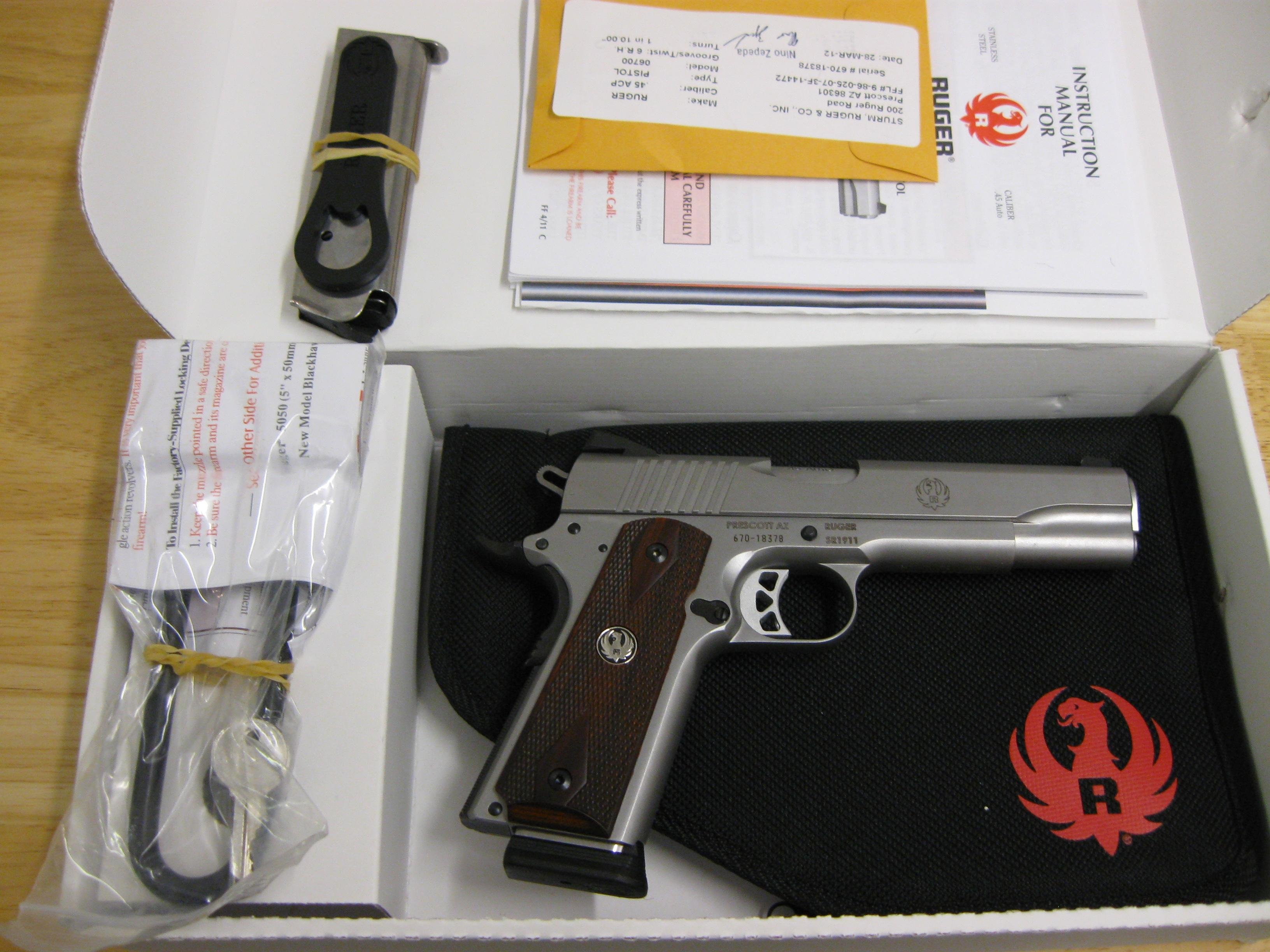 Ruger SR1911 Semi-Auto Pistol 6700, 45 Automatic Colt Pistol (ACP), 5 in, Wood Grip, Stainless Finish, 8 Rd  Guns > Pistols > Ruger Semi-Auto Pistols > SR9