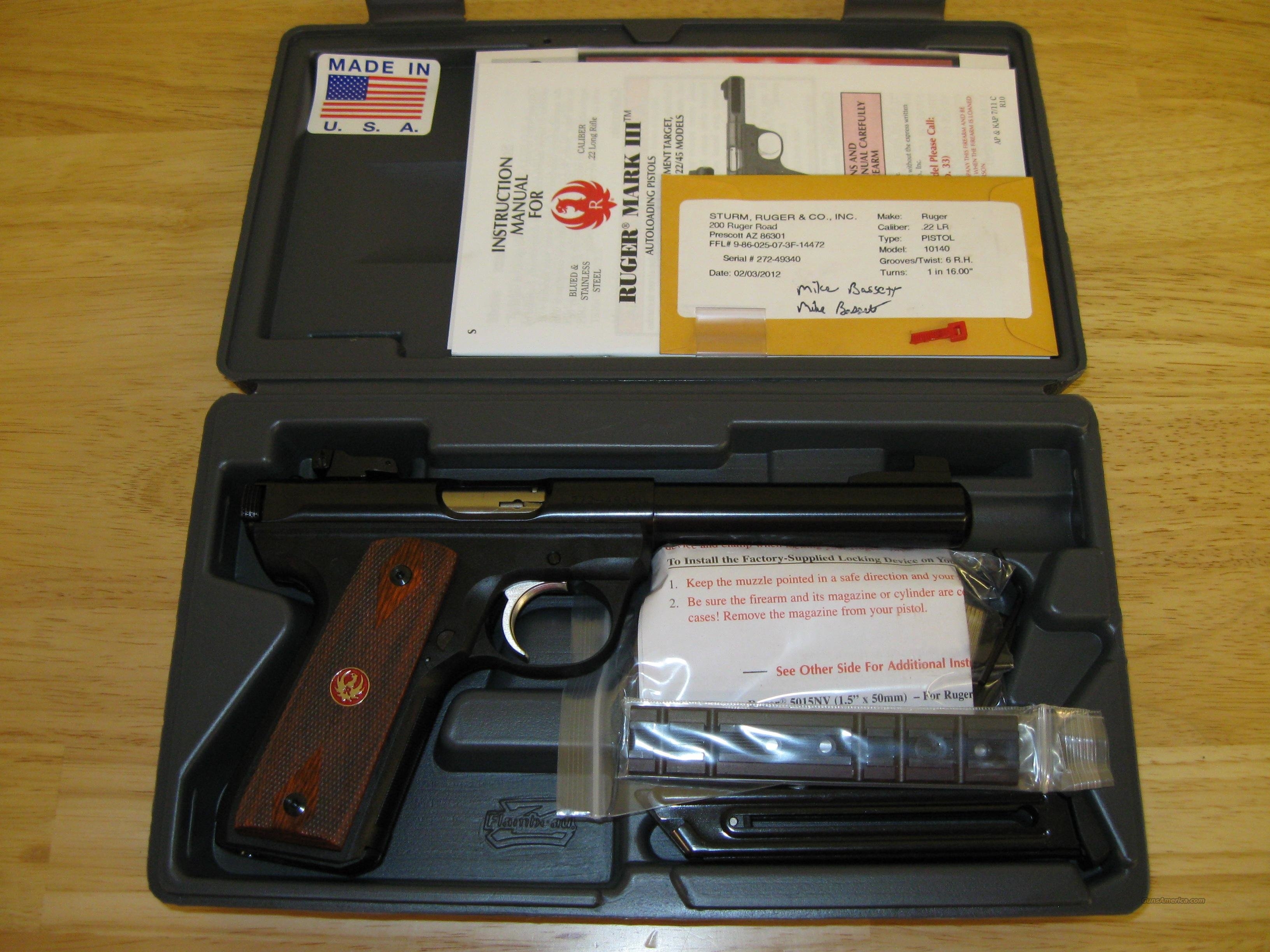 Ruger Model P512MKIIIRP 22/45 Pistol 10140, 22 Long Rifle, 5.5 in Bull, Cocobolo Wood Grip, Blue Finish, 10 Rd  Guns > Pistols > Ruger Semi-Auto Pistols > Mark I & II Family