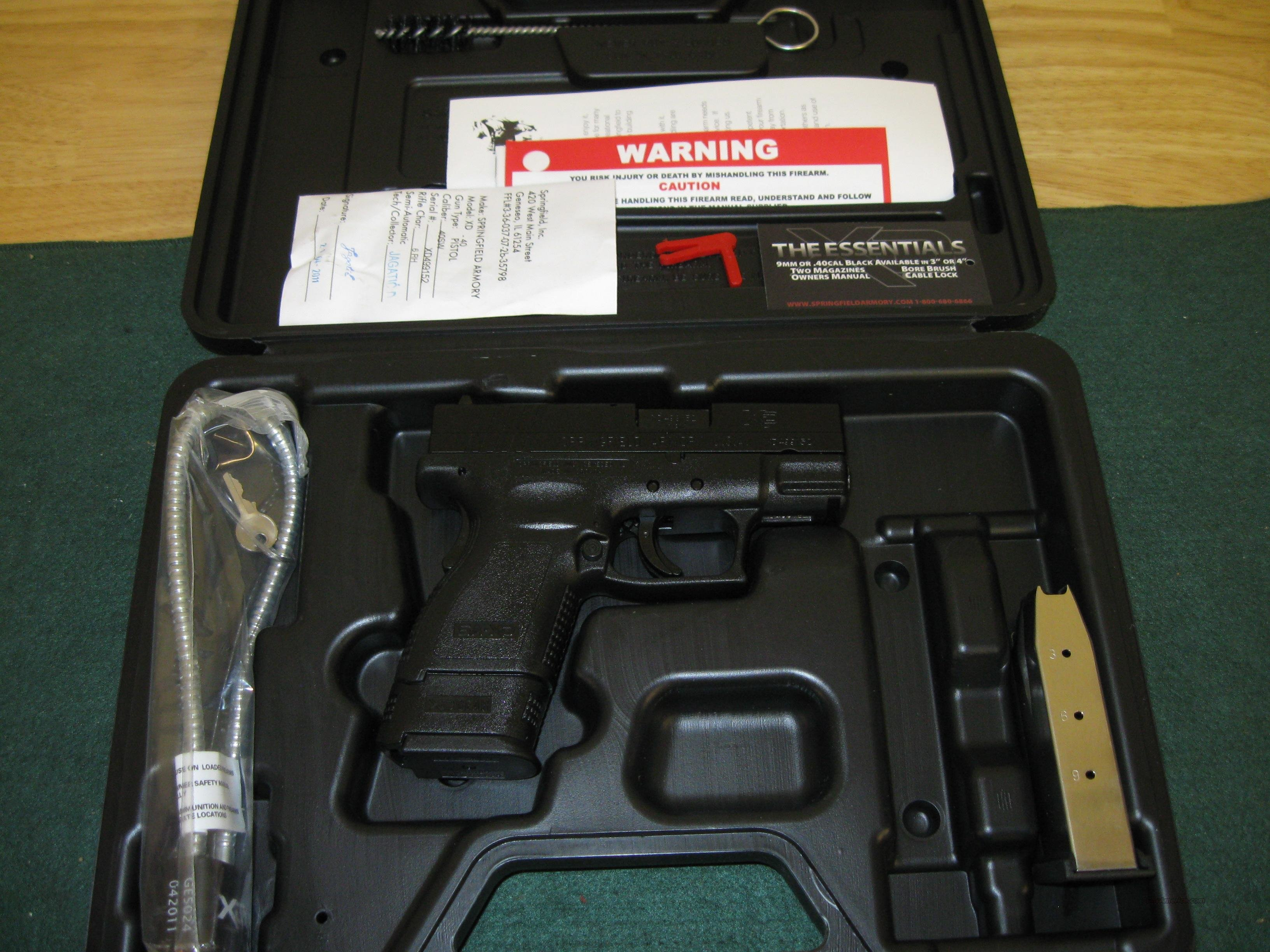 Springfield XD Essential Package XD9802HC, 40 S&W, 3 in, Polymer Grip, Matte Black Finish, 3-Dot Sights, 12 Rd (Grip Extension)  Guns > Pistols > Springfield Armory Pistols > XD (eXtreme Duty)