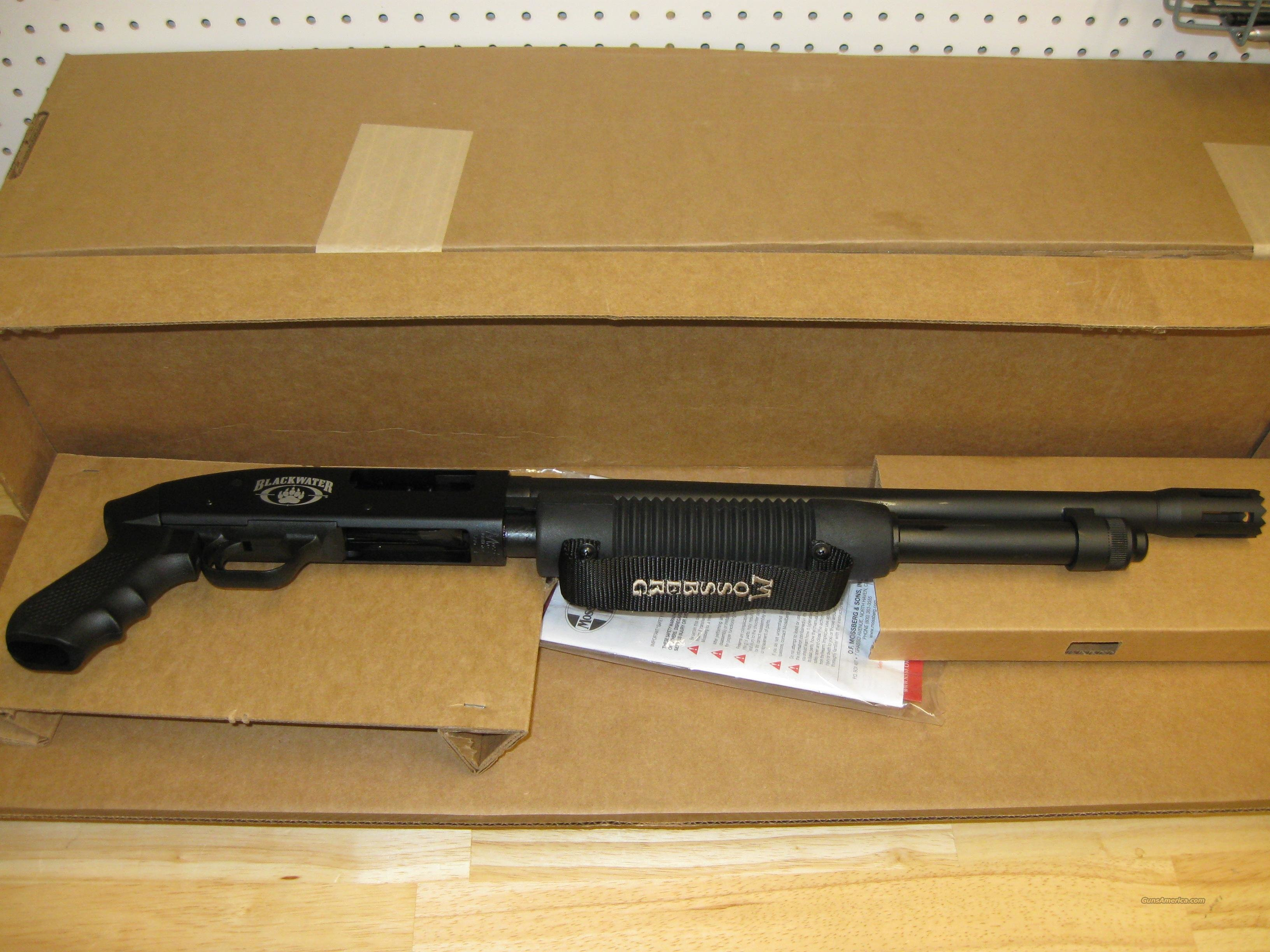 Mossberg 500 Blackwater Shotgun 54123, 12 Gauge, 18.5 in, 3 in Chmbr, Synthetic Pistol Grip Stock, Black Finish  Guns > Shotguns > Mossberg Shotguns > Pump > Tactical