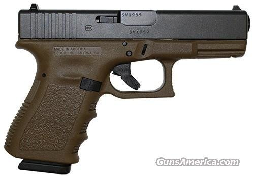 Glock 19 FDE Compact Pistol PI1950203D, 9mm, 4.0 in, Flat Dark Earth Grip, Gas Nitride Finish, 15 Rd  Guns > Pistols > Glock Pistols > 19