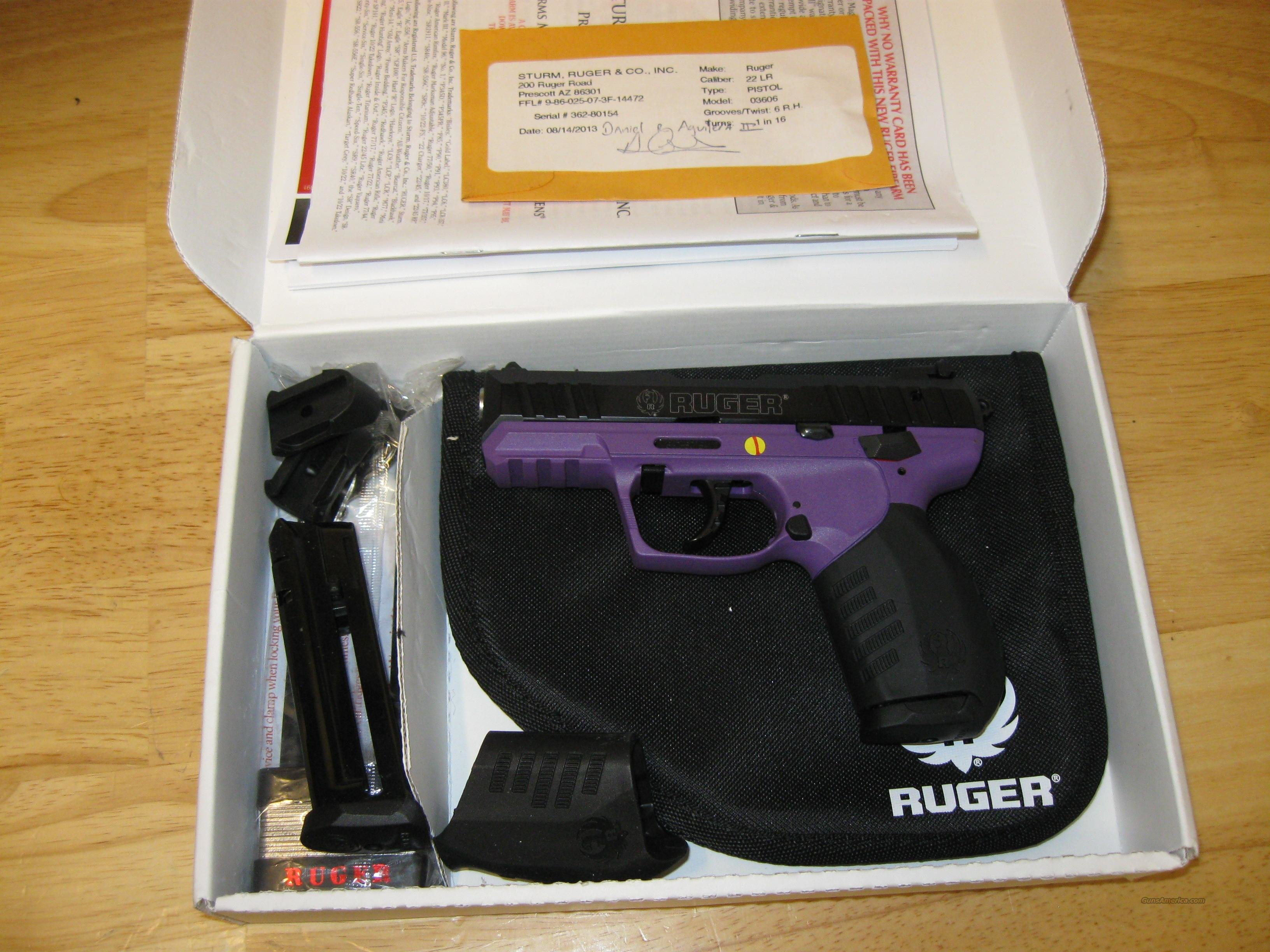 Ruger SR22 Lady Lilac Pistol 3606, 22 Long Rifle, 3.5 in, Purple Frame, Black Finish, 10 Rd  Guns > Pistols > Ruger Semi-Auto Pistols > SR9/SR40/SR45