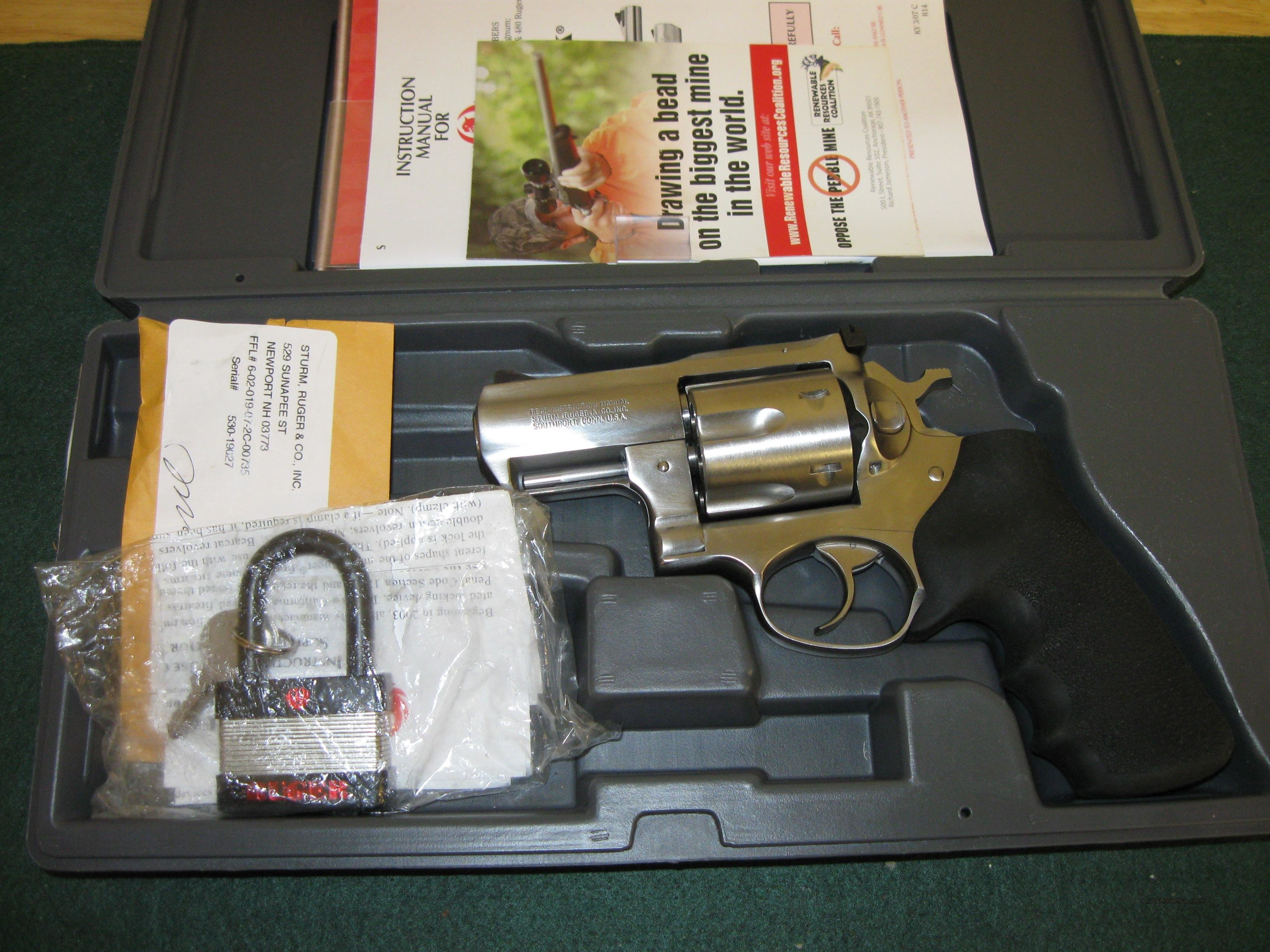 Ruger Super Redhawk Model KSRH2 Alaskan Revolver 5303, 44 Remington Mag, 2 1/2 in, Hogue Tamer Monogrip, Satin Stainless Finish, 6 Rd  Guns > Pistols > Ruger Double Action Revolver > Redhawk Type