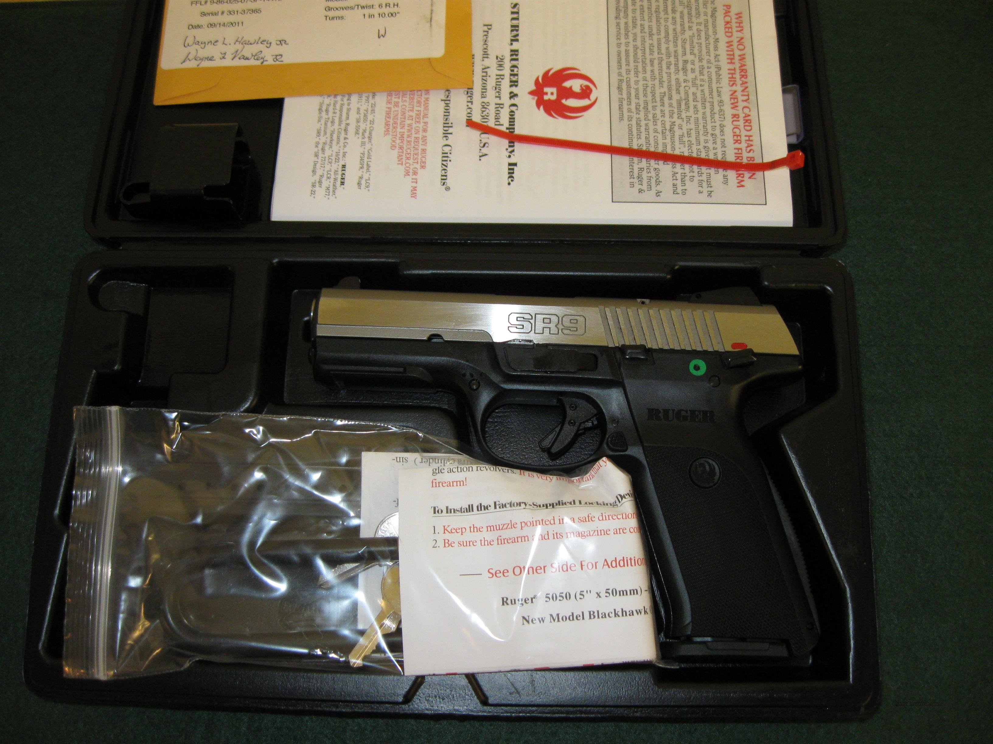 Ruger Model SR9 Semi Auto Pistol 3301, 9 MM, 4.1 in, Synthetic Grip, Black/Stainless Steel Finish, 17 Rd, Adj Sights, Rail  Guns > Pistols > Ruger Semi-Auto Pistols > SR9