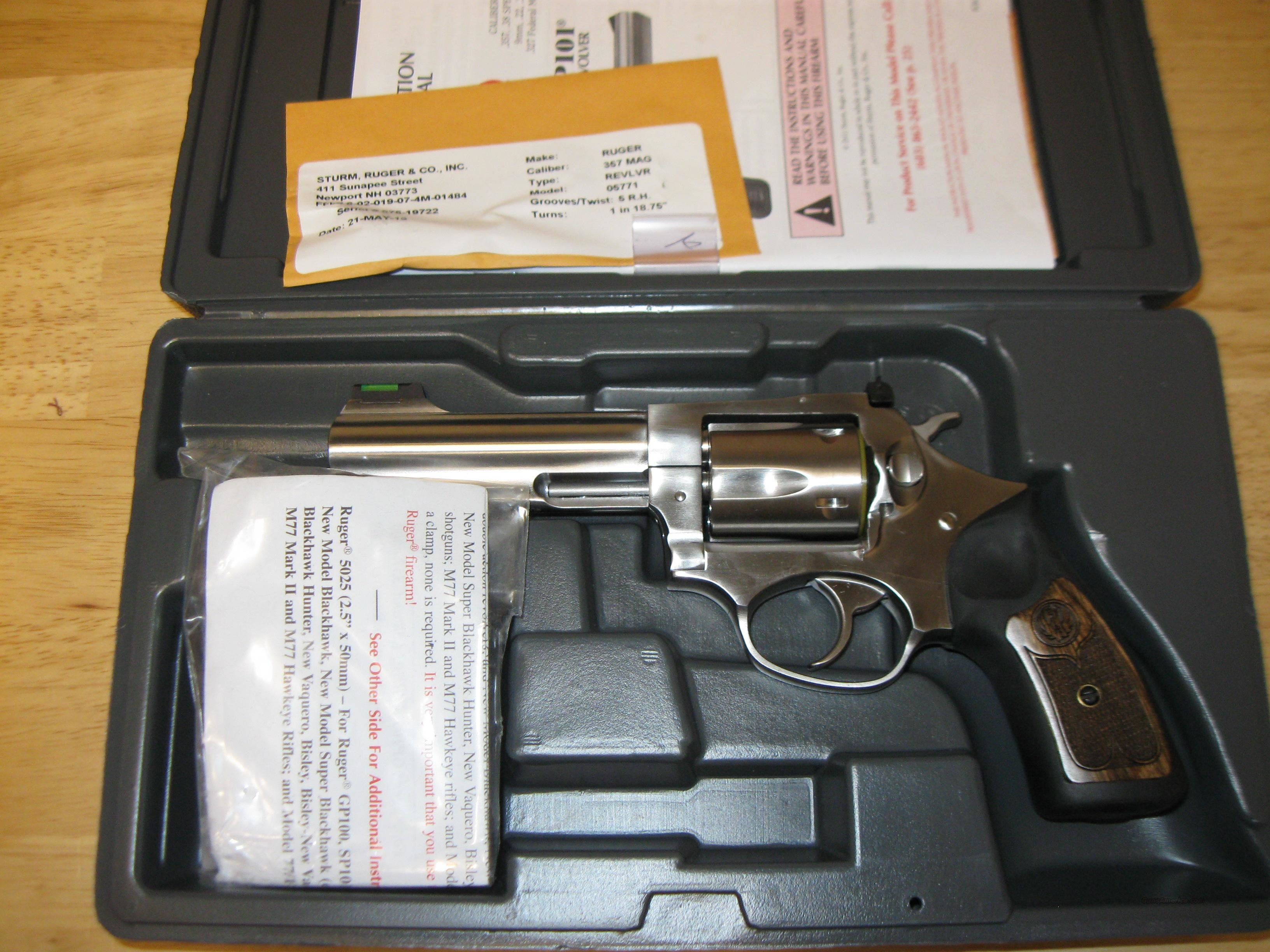 Ruger SP101 Revolver 5771, 357 Magnum, 4.2 in, Cushion Inset Rubber Grip, Satin Stainless Finish, 5 Rd  Guns > Pistols > Ruger Double Action Revolver > SP101 Type