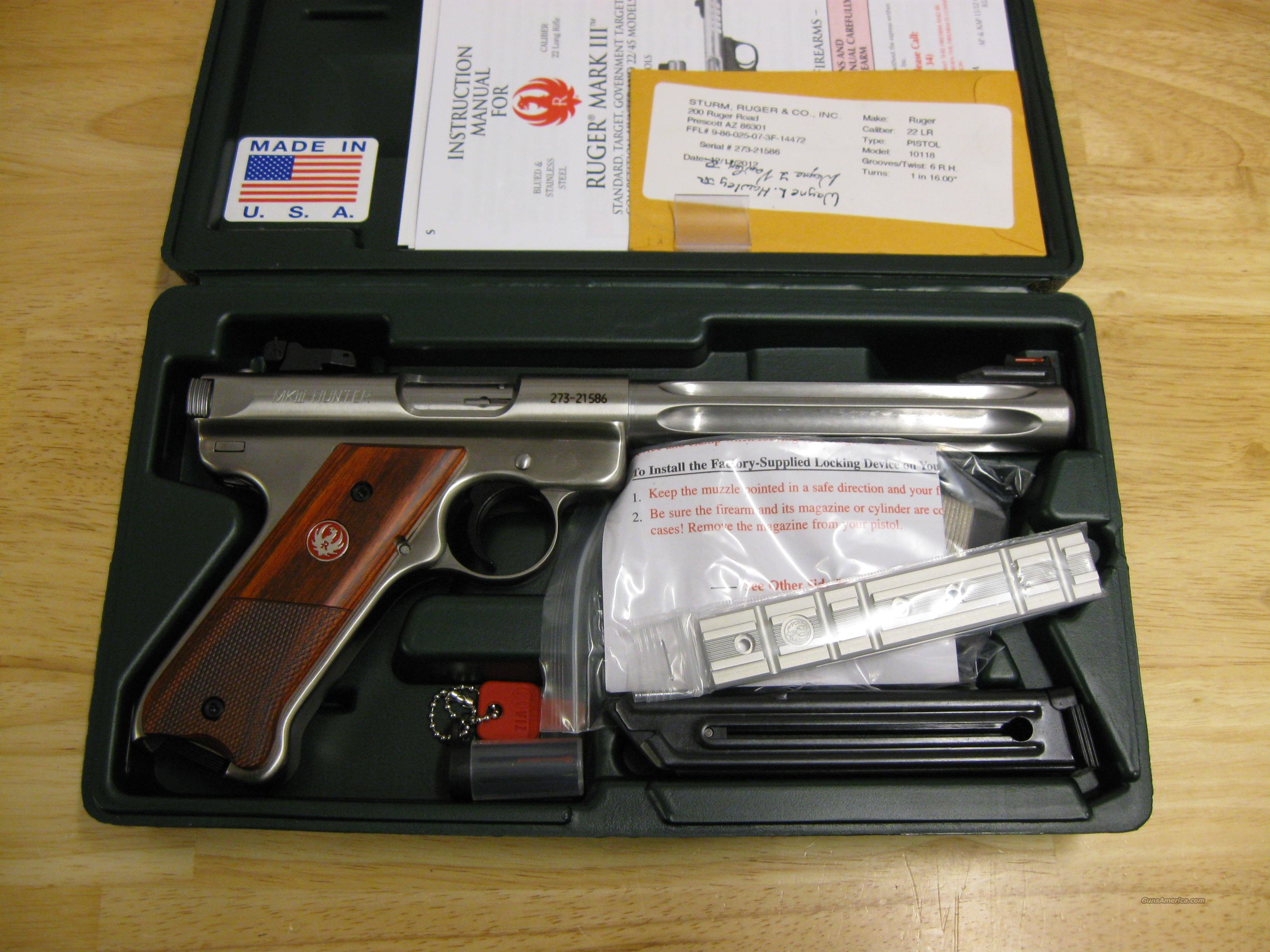 Ruger Mark III KMKIII Model678H Rimfire Pistol 10118, 22 Long Rifle, 6 7/8 in, Half Check Cocobolo Grip, Stainless Finish, 10 Rd, Fiber Opt Sights  Guns > Pistols > Ruger Semi-Auto Pistols > Mark I & II Family