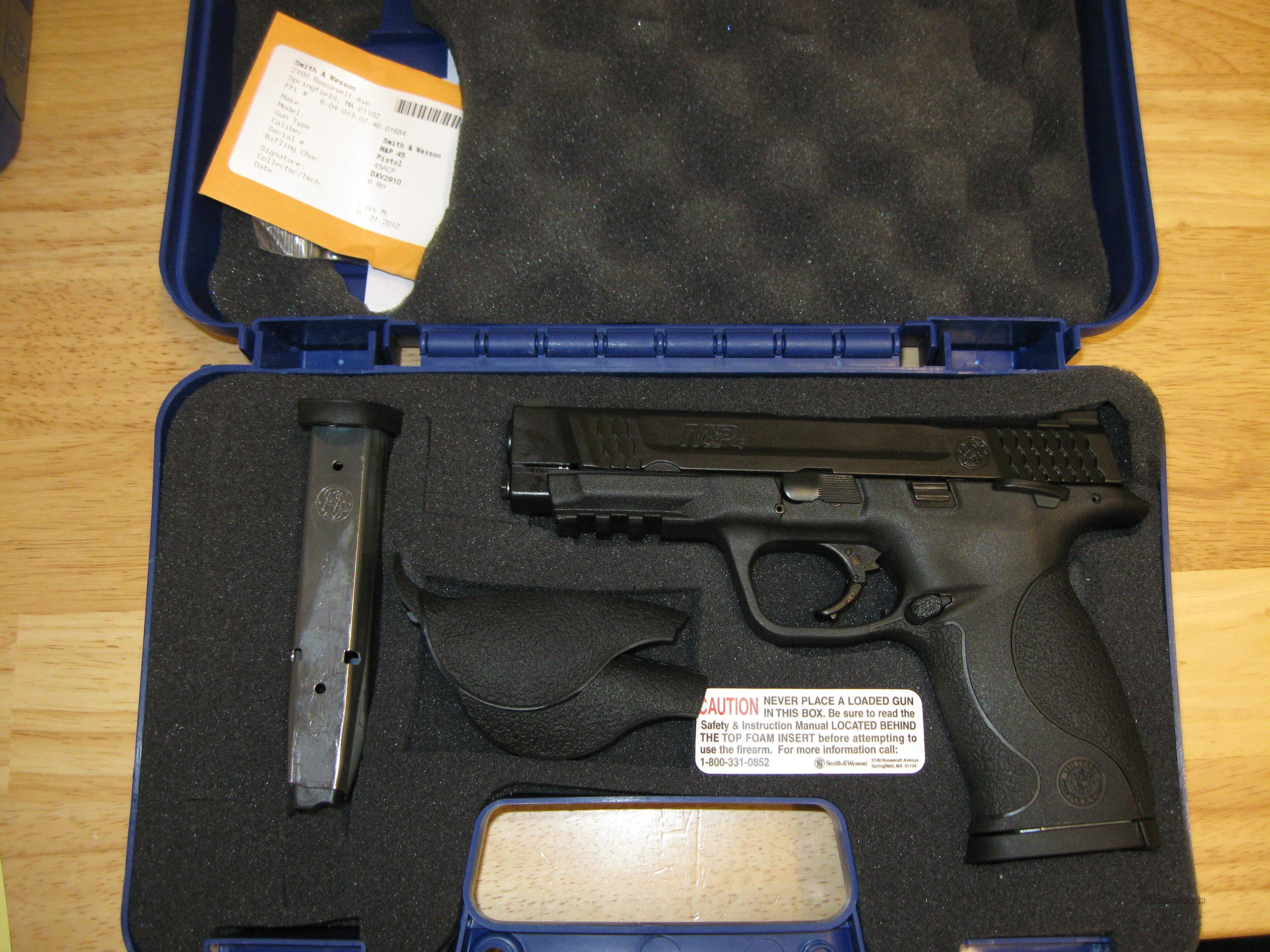 "Smith & Wesson M&P 45 Pistol 109106, 45 ACP, 4 1/2"", Plastic Grip, Black Finish, 10 Rd, Lanyard Ring  Guns > Pistols > Smith & Wesson Pistols - Autos > Polymer Frame"