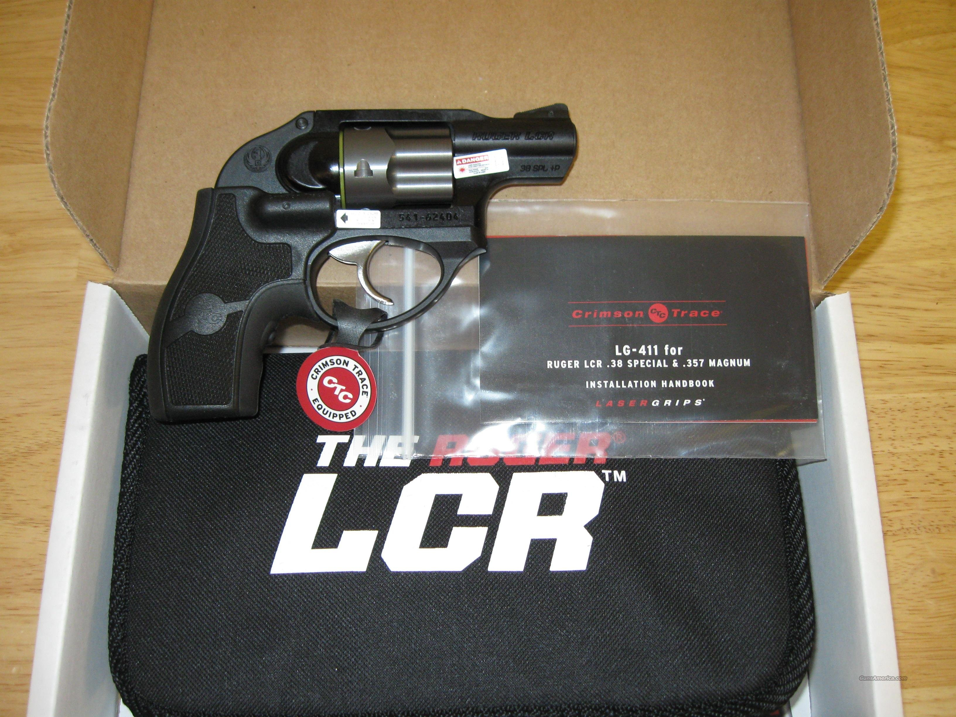 Ruger LCR LG Lightweight Compact Revolver 5402, 38 Special, 1.875 in, Crimson Trace Laser Grips, Matte Black Finish, 5 Rd  Guns > Pistols > Ruger Double Action Revolver > Security Six Type