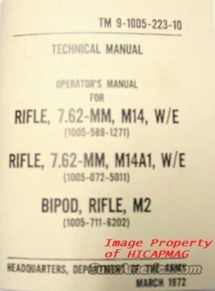 USGI M14 Operators Technical Manual 1972 M-14 M1A for Rifle and Magazine  Non-Guns > Magazines & Clips > Rifle Magazines > M-14/M1A