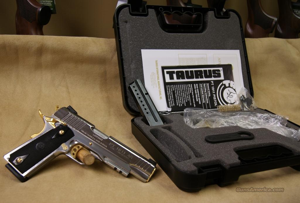 Taurus 1911 Polished Stainless/Black Grip/Gold Accents - 38 Super  Guns > Pistols > Taurus Pistols/Revolvers > Pistols > Steel Frame