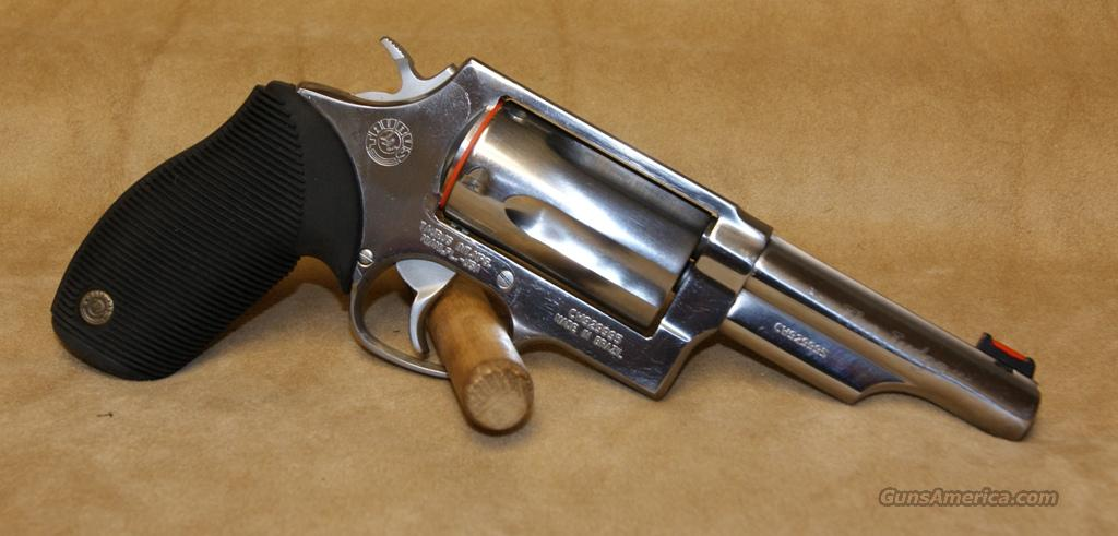 "Taurus Judge Polished Stainless 4"" / 2.5"" - 45 Long Colt/410 gauge  Guns > Pistols > Taurus Pistols/Revolvers > Revolvers"
