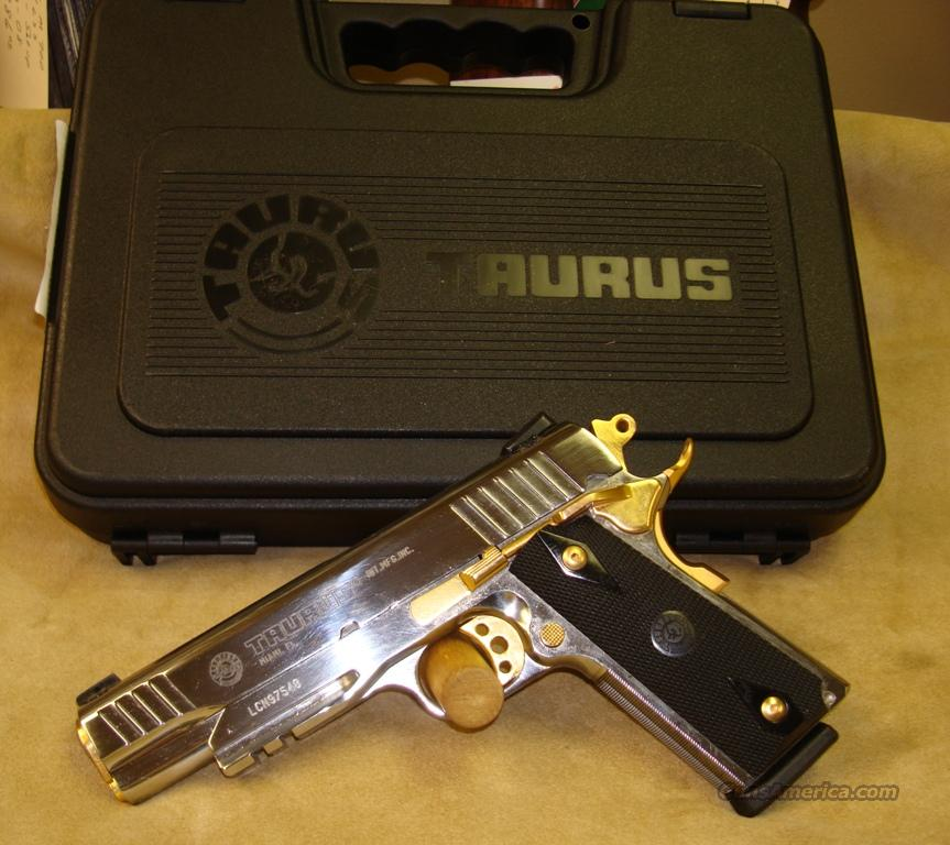 Taurus 1911 Polished Stainless/Black/Gold - 38 Super  Guns > Pistols > Taurus Pistols/Revolvers > Pistols > Steel Frame