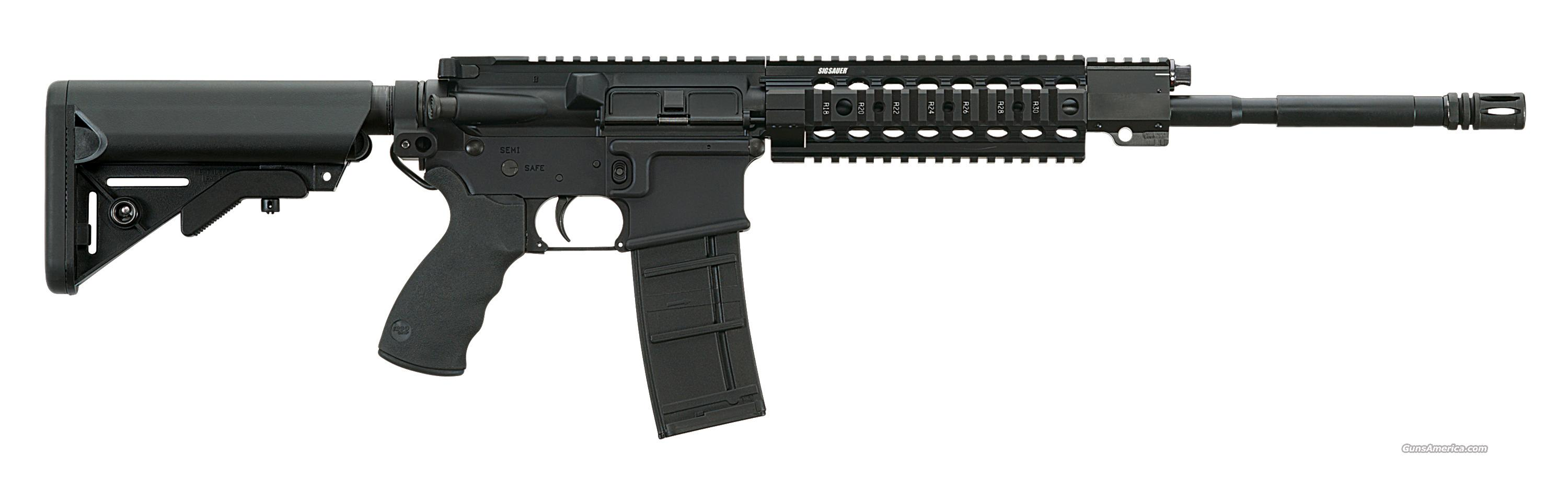 "Sig 516, Patrolman, .223, Gas Piston, Alloy Quad Rail Fore End, Rotating Bolt System, with 3 Position Gas Regulator, 7075-T6 Aluminum Upper and Lower Receiver with Hard Coat Anodized Finish, 16"" Free Floating-Chrome Lined Barrel  Guns > Rifles > Sig - Sauer/Sigarms Rifles"