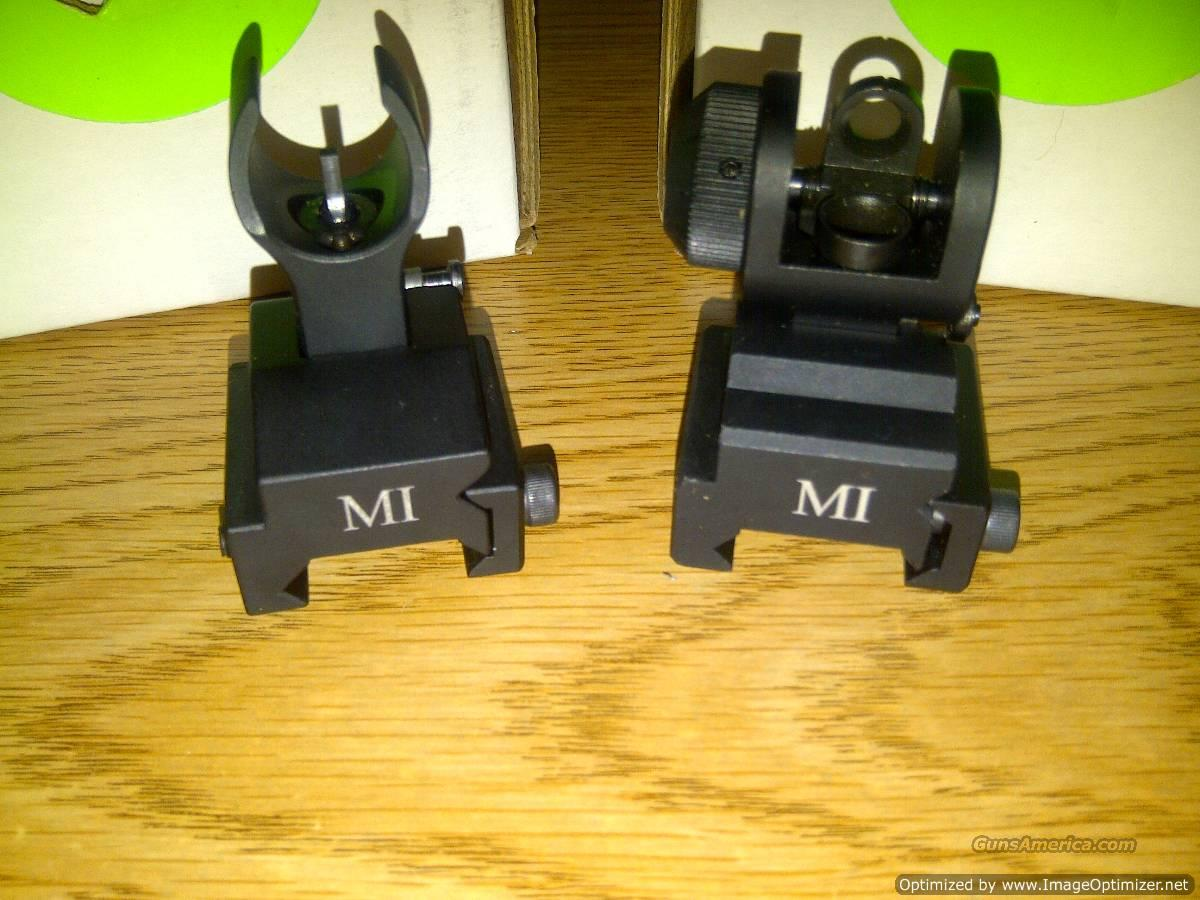 AR15 Metal Flip Up Sights, Midwest Industries MCTAR-ERS and MCTAR-FFR, Pair of Front and Rear Sights, Mounts to Picatinny Rails, Rugged, High Quality, Black...   Non-Guns > Iron/Metal/Peep Sights