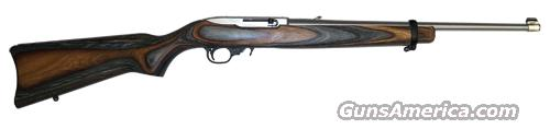 "Ruger 10-22, SKU 01273, 22LR, Stainless, Black/Brown Beautiful Laminated Wood Stock, 18.5"" Barrel, With FREE extra (25) Round Magazine  Guns > Rifles > Ruger Rifles > 10-22"