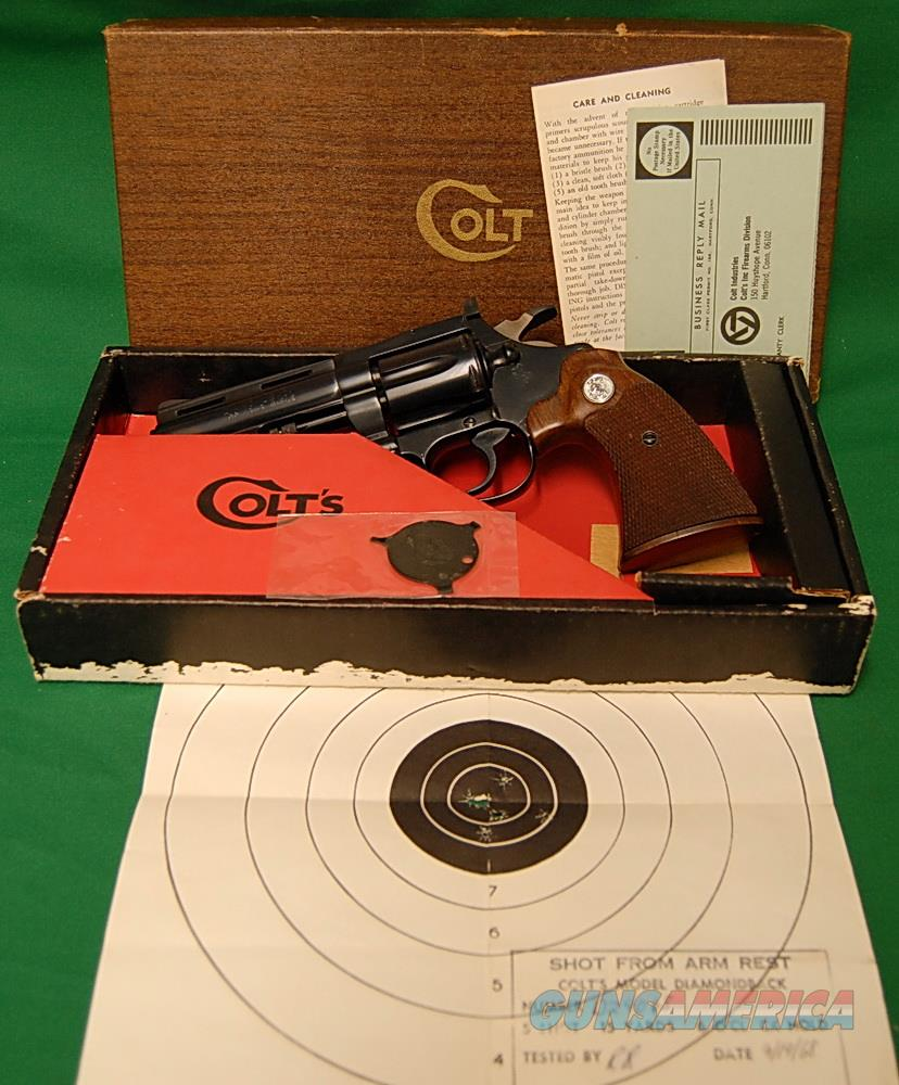 "Colt Diamondback 22 LR, Like New, 4"" barrel, Blued, Complete box and paperwork.  Guns > Pistols > Colt Double Action Revolvers- Modern"