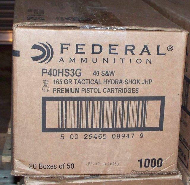 Federal .40 P40 HS3G 165 Grain JHP S&W 1000 Rounds  Non-Guns > Ammunition