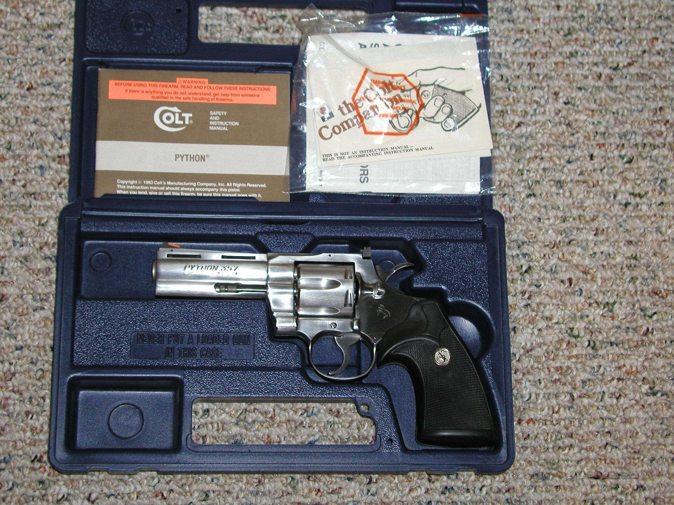 Colt Python NIB Stainless  Guns > Pistols > Colt Double Action Revolvers- Modern