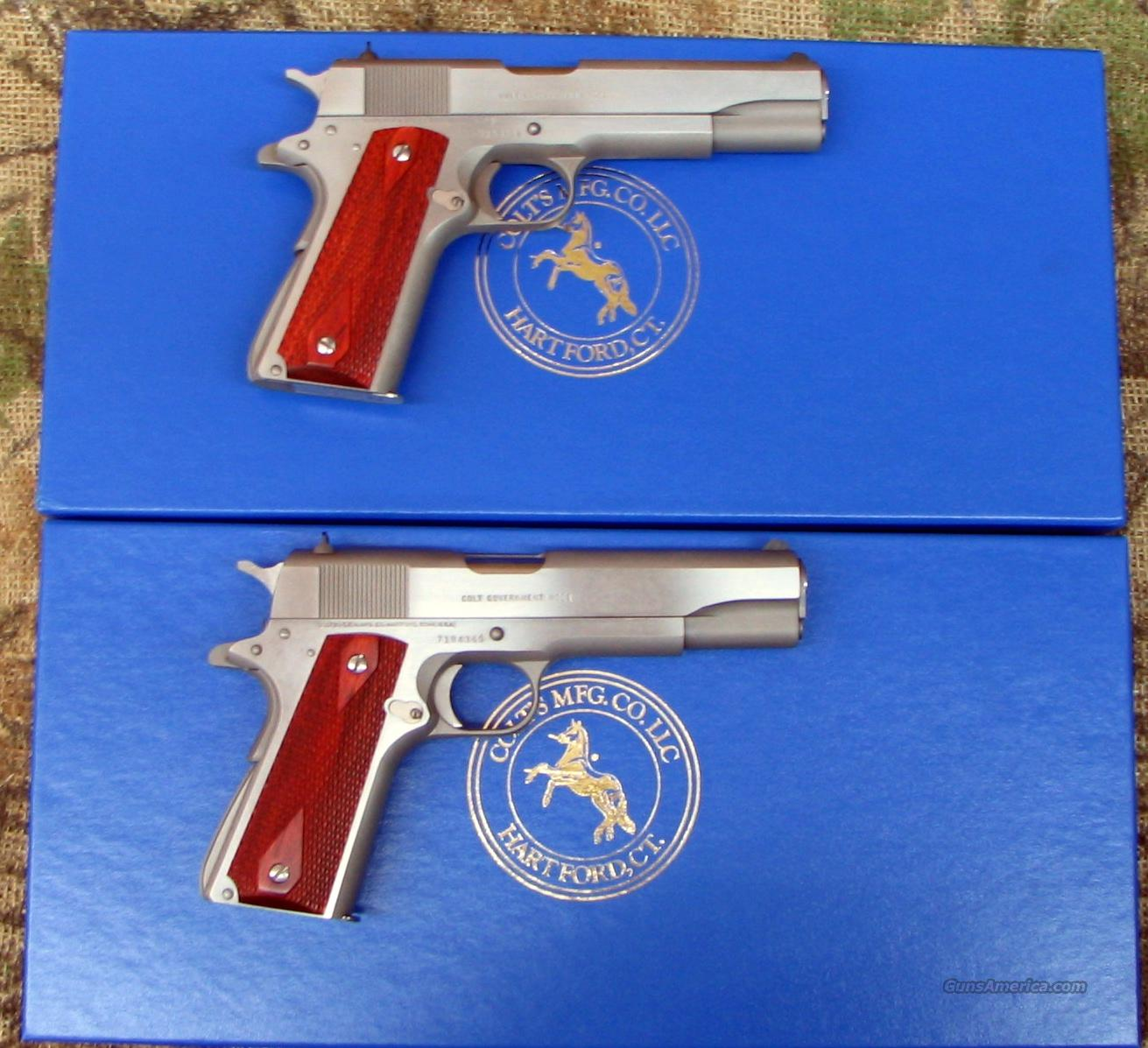 Two COLT Govt Series 70 Stainless, 45 ACP, Consecutive Ser. Numbers   Guns > Pistols > Colt Automatic Pistols (1911 & Var)