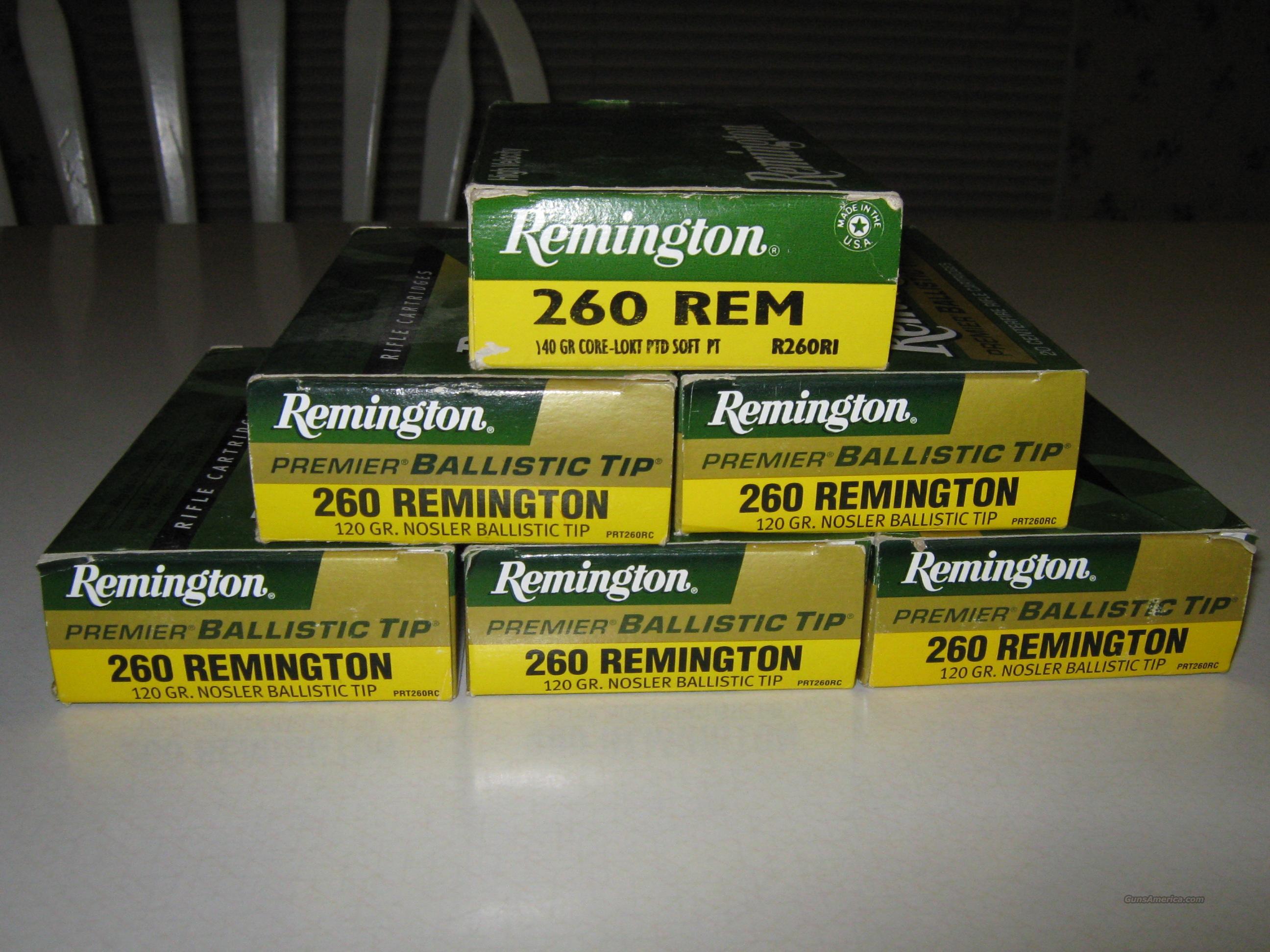 REMINGTON BALLISTIC TIP & CORE LOKT SP 260 REM 120 ROUNDS