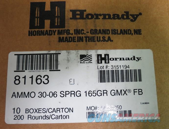 30-06 Hornady 165gr GMX Case of 200 rds (10bx of 20)  Non-Guns > Ammunition