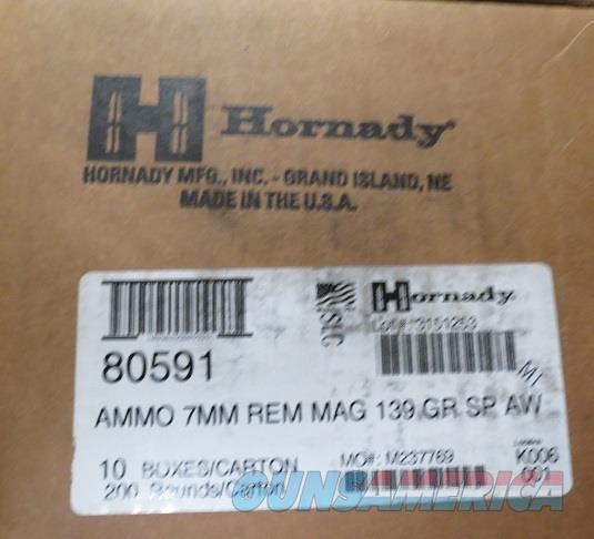 7mm MAG Hornady AW 139 gr Case of 200 rds (10bx of 20)  Non-Guns > Ammunition