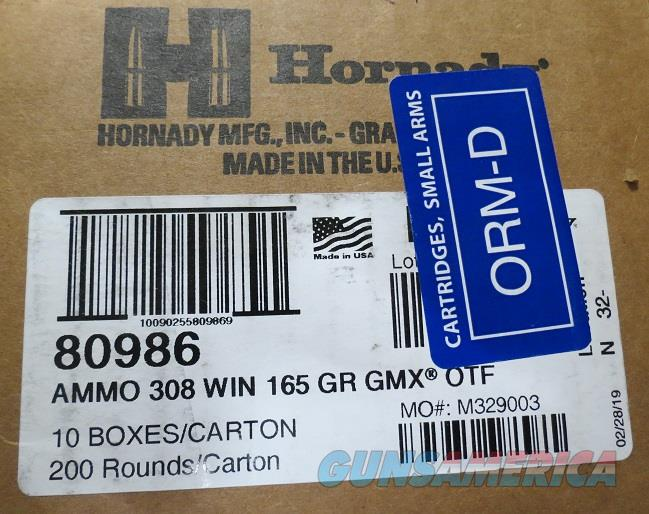 Hornady 308 165gr GMX Case of 200 rds (10bx of 20)  Non-Guns > Ammunition