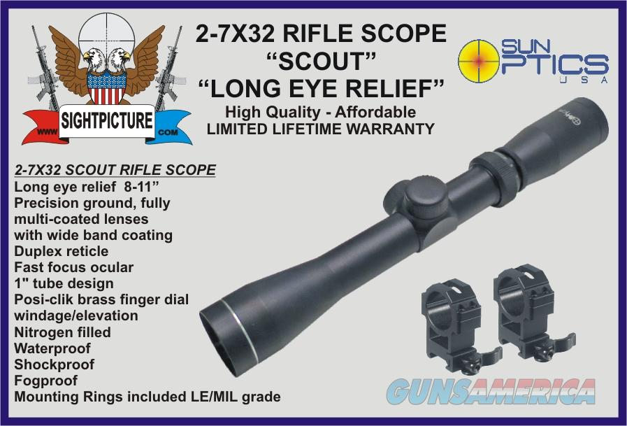 "2-7X32  SCOUT RIFLE  SCOPE WITH MOUNTING RINGS LONG EYE RELIEF 8-11""  Non-Guns > Scopes/Mounts/Rings & Optics > Rifle Scopes > Variable Focal Length"