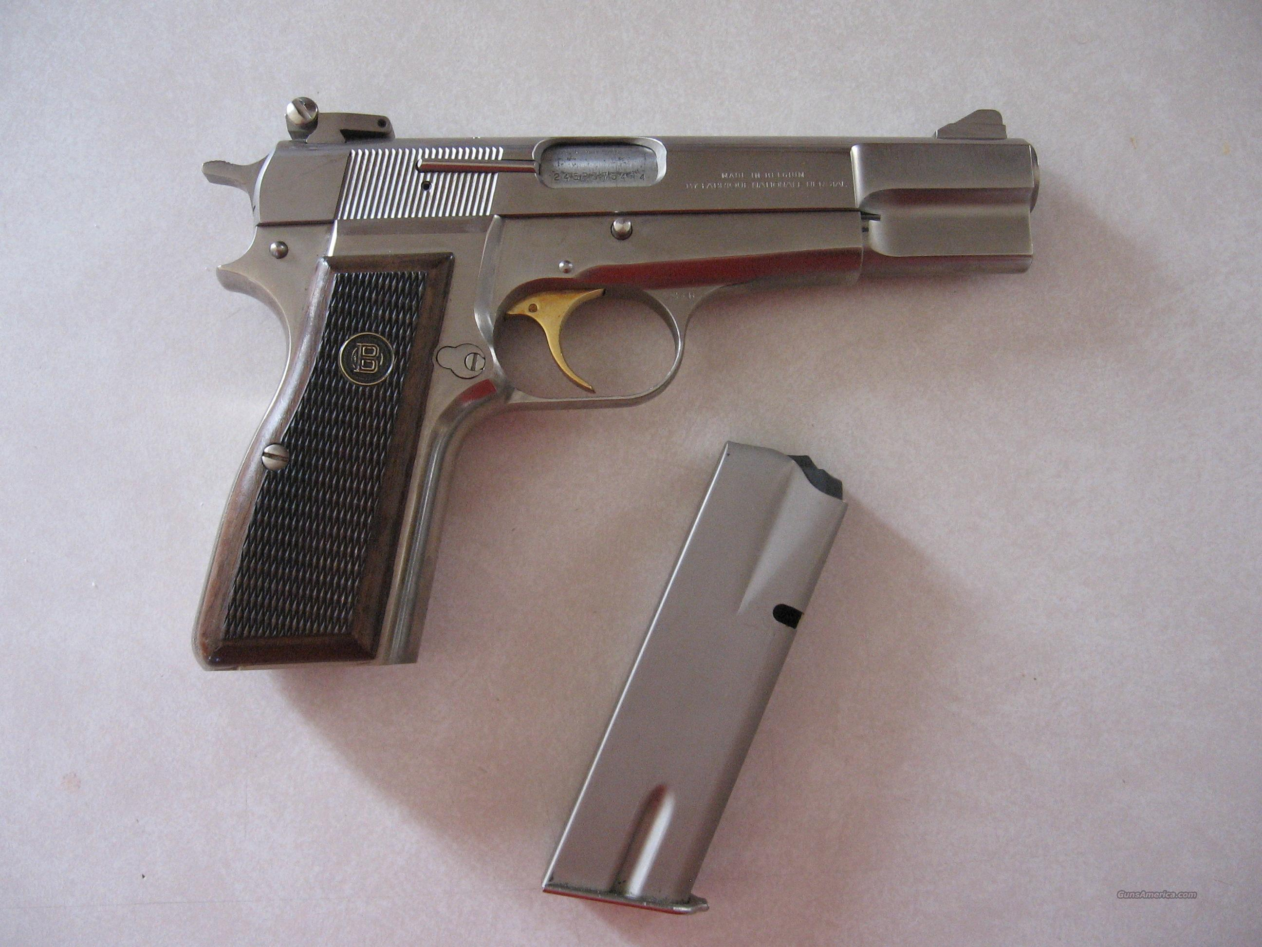 """ BROWNING  HI  POWER  NICKEL / SILVER ""  Guns > Pistols > Browning Pistols > Hi Power"